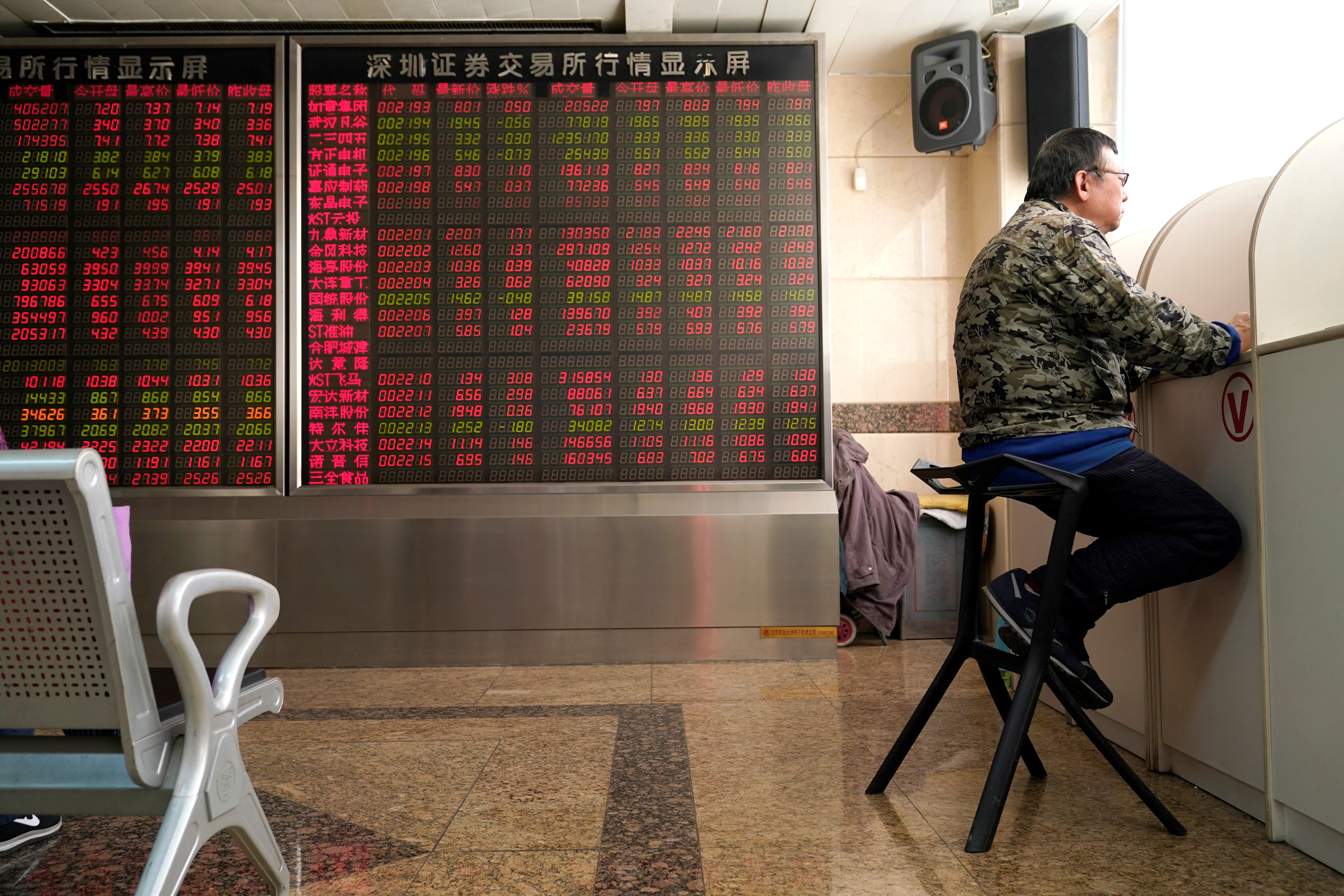 An investor sits next to a stock quotation board at a brokerage office in Beijing, China January 3, 2020. REUTERS/Jason Lee