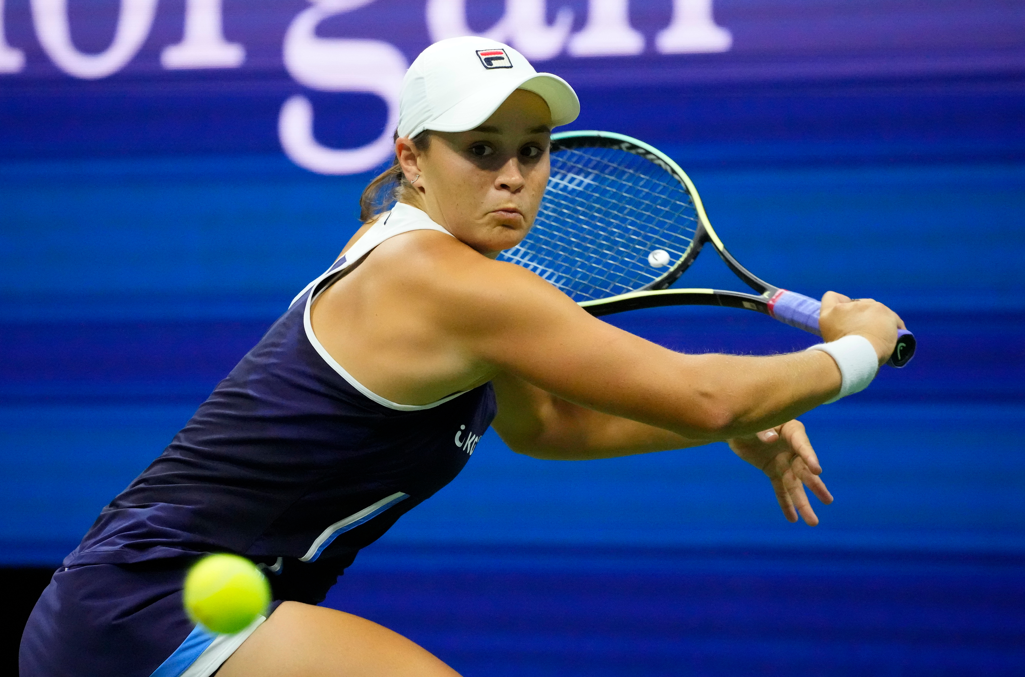 Sep 4, 2021; Flushing, NY, USA;  Ashleigh Barty of Australia hits to Shelby Rogers of the USA on day six of the 2021 U.S. Open tennis tournament at USTA Billie Jean King National Tennis Center. Mandatory Credit: Robert Deutsch-USA TODAY Sports/File photo