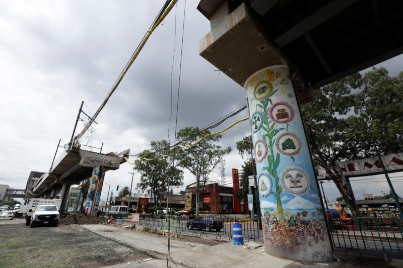 An image of the site of a deadly metro overpass accident that collapsed last month and left 26 people dead, in Mexico City, Mexico June 14, 2021. REUTERS/Luis Cortes