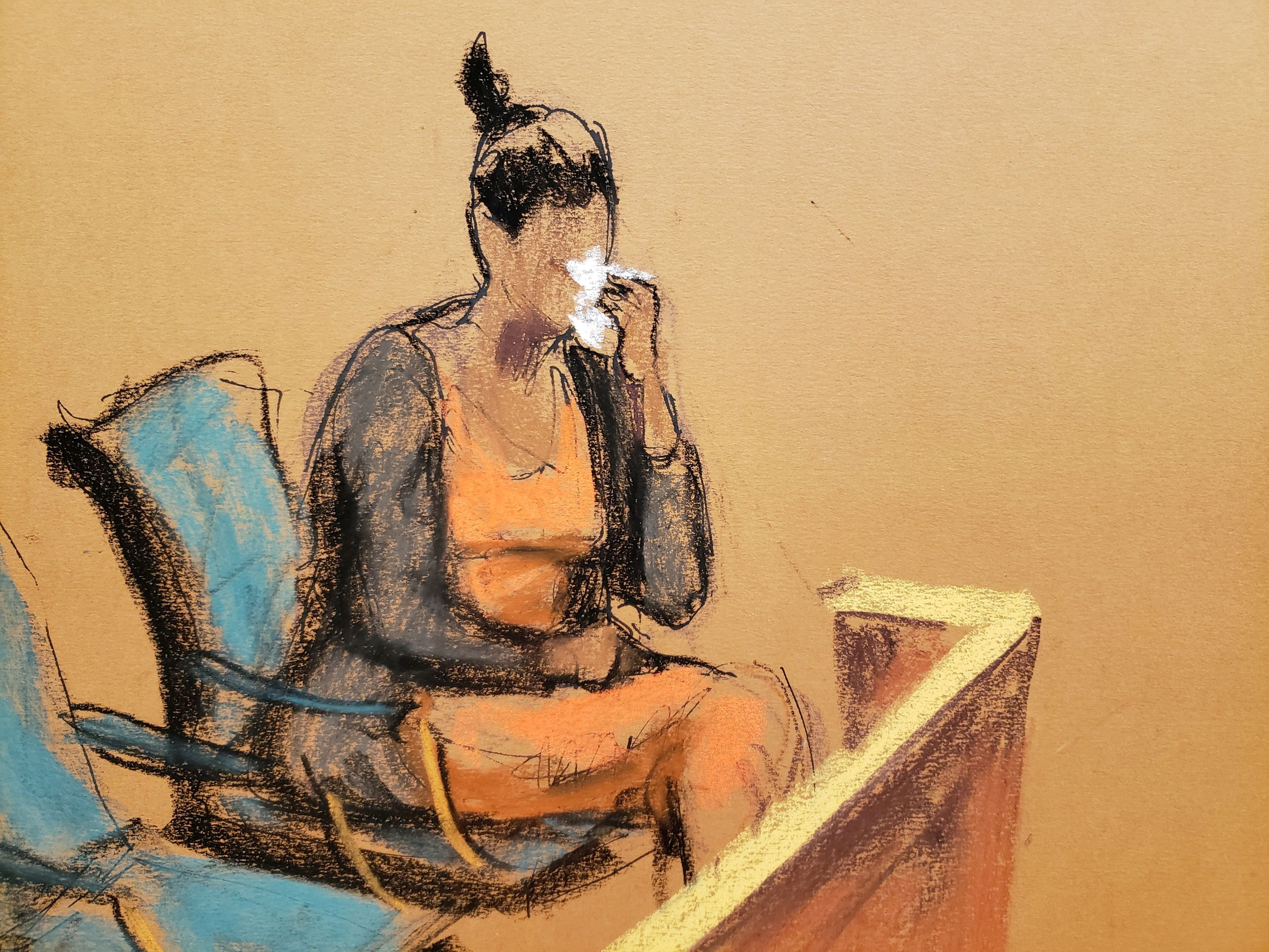 Jane Doe #5 weeps during R. Kelly's sex abuse trial at Brooklyn's Federal District Court in New York, U.S., August 25, 2021 in a courtroom sketch. REUTERS/Jane Rosenberg