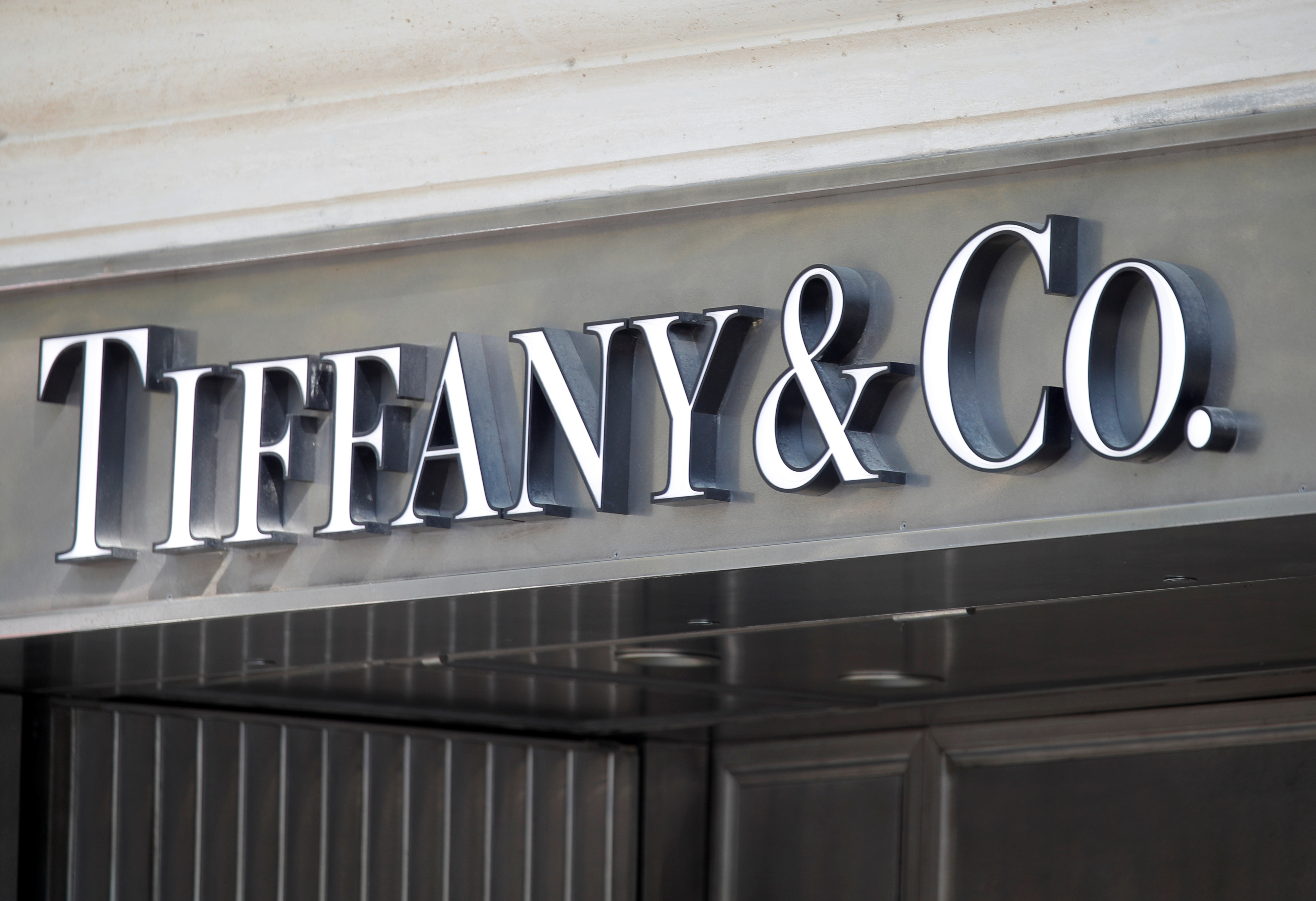 A Tiffany & Co. logo is seen outside a store in Paris, France, September 18, 2020.   REUTERS/Charles Platiau