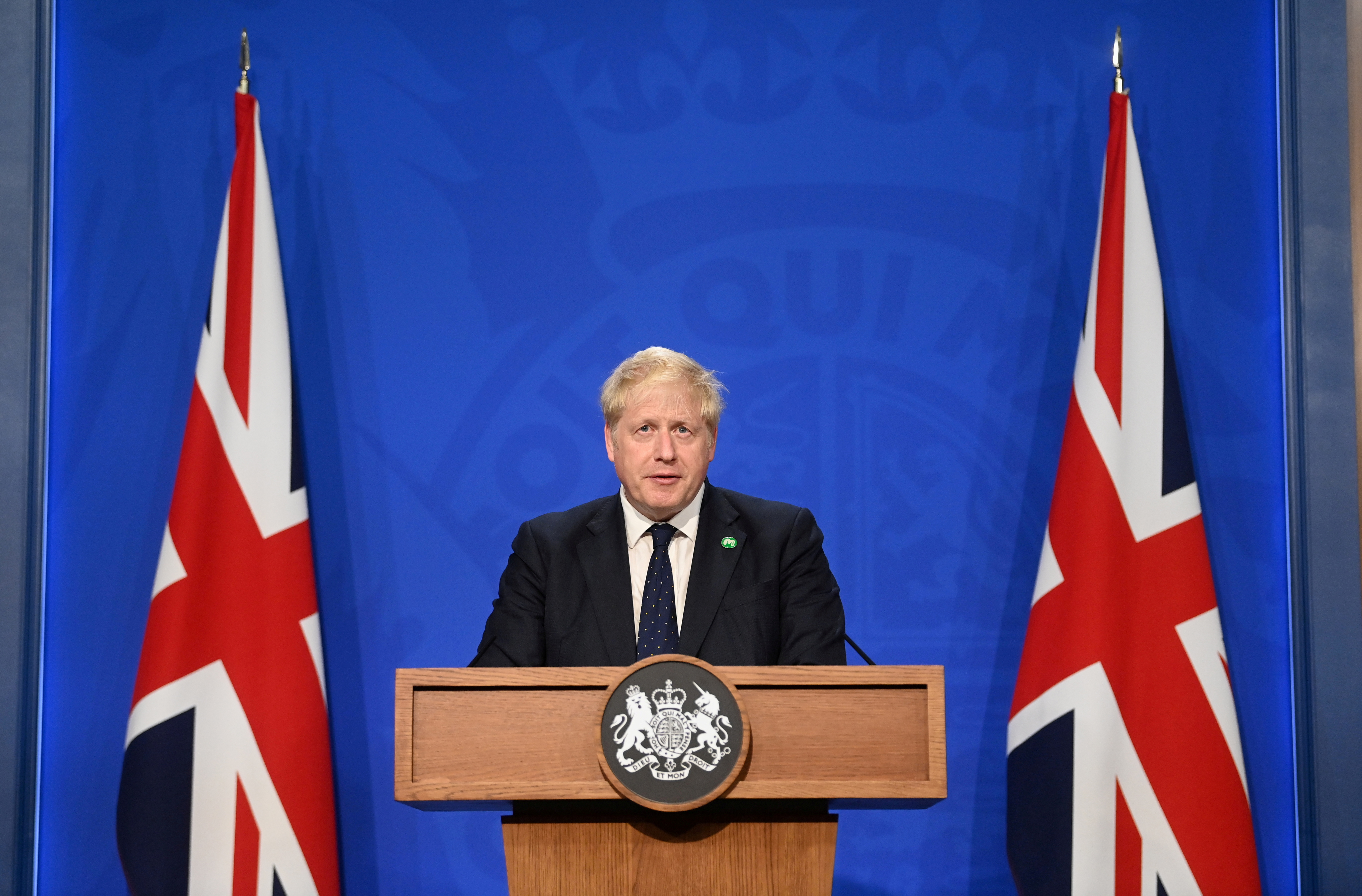Britain?s Prime Minister Boris Johnson speaks at a news conference in Downing Street, in London, Britain, September 7, 2021. REUTERS/Toby Melville