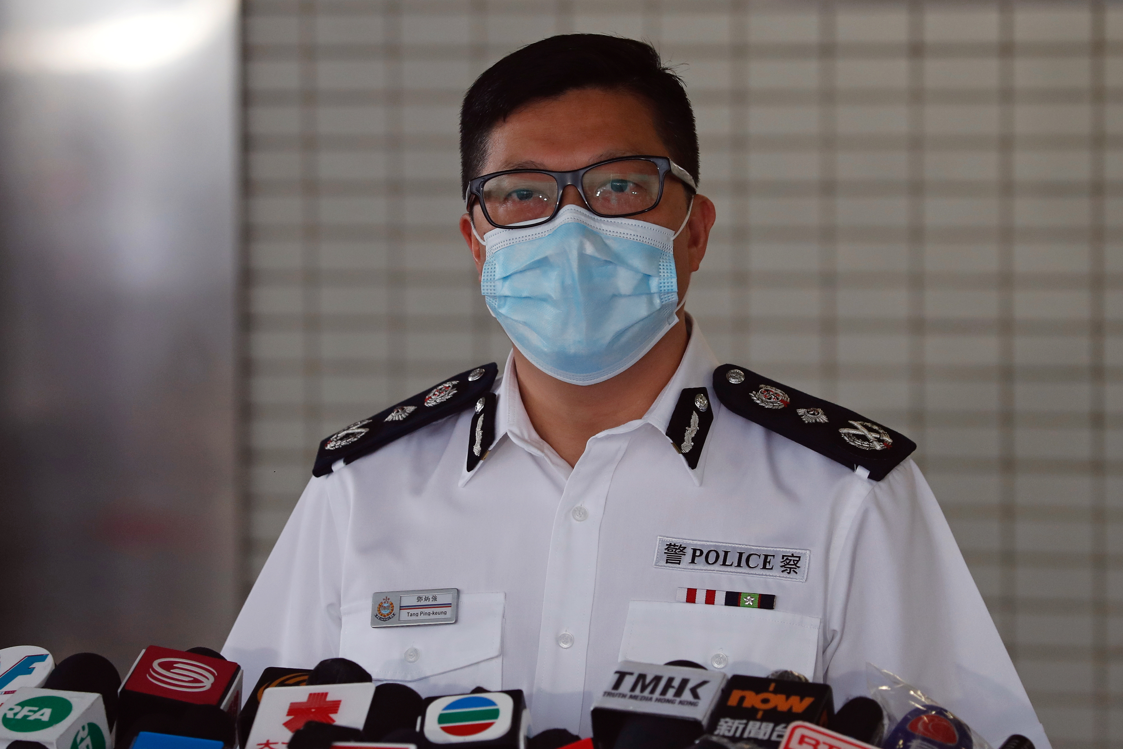 Hong Kong's Commissioner of Police Chris Ping-keung Tang attends a news conference in Hong Kong, China August 27, 2020. REUTERS/Tyrone Siu