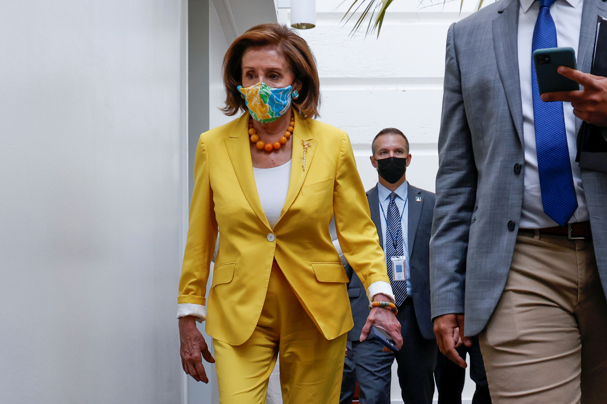 U.S. House Speaker Nancy Pelosi (D-CA) arrives for a House Democratic caucus meeting amidst ongoing negotiations over budget and infrastructure legislation at the U.S. Capitol in Washington, U.S. August 24, 2021.  REUTERS/Jonathan Ernst