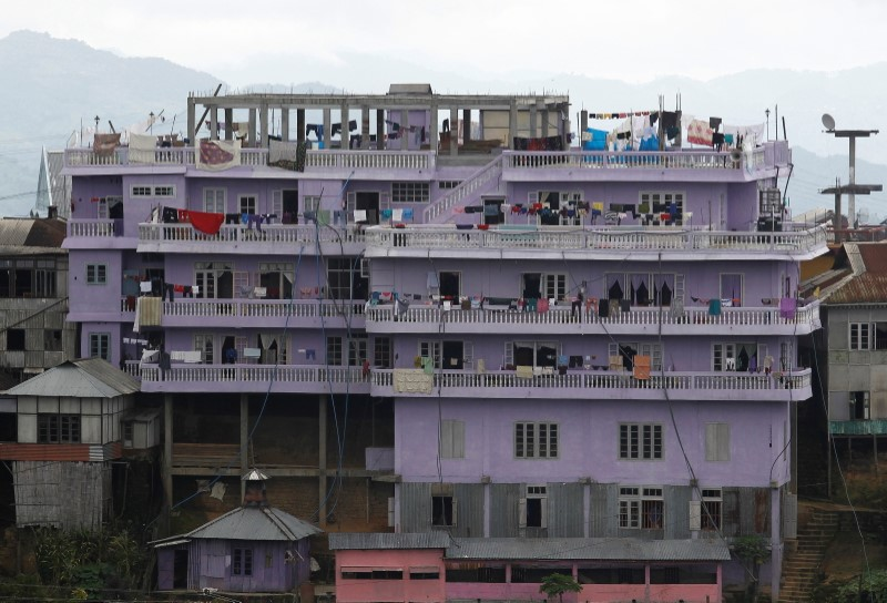 A view of Ziona's 4 storey house in Baktawng village in the northeastern Indian state of Mizoram, October 6, 2011. REUTERS/Adnan Abidi