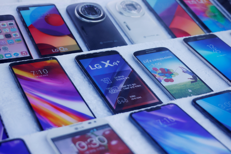 Mock old version LG Electronics' smartphones are displayed at a store in Seoul, South Korea, April 5, 2021.   REUTERS/Kim Hong-Ji