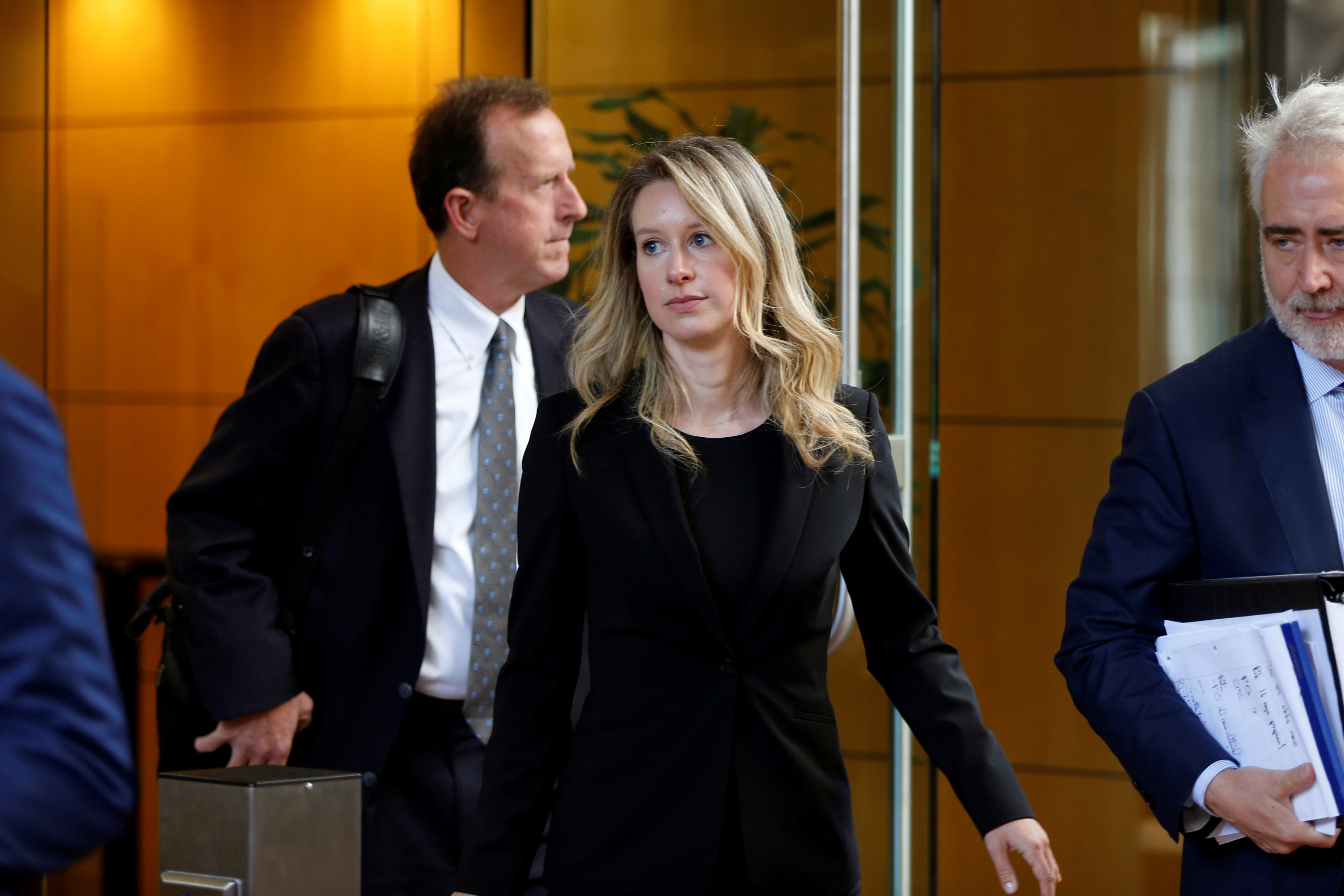 Former Theranos CEO Elizabeth Holmes leaves after a hearing at a federal court in San Jose, California, U.S., July 17, 2019.  REUTERS/Stephen Lam