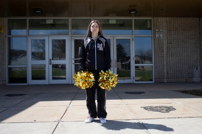 Brandi Levy, a former cheerleader at Mahanoy Area High School in Mahanoy City, Pennsylvania and a key figure in a major U.S. case about free speech, poses in an undated photograph provided by the American Civil Liberties Union.  Danna Singer/Handout via REUTERS