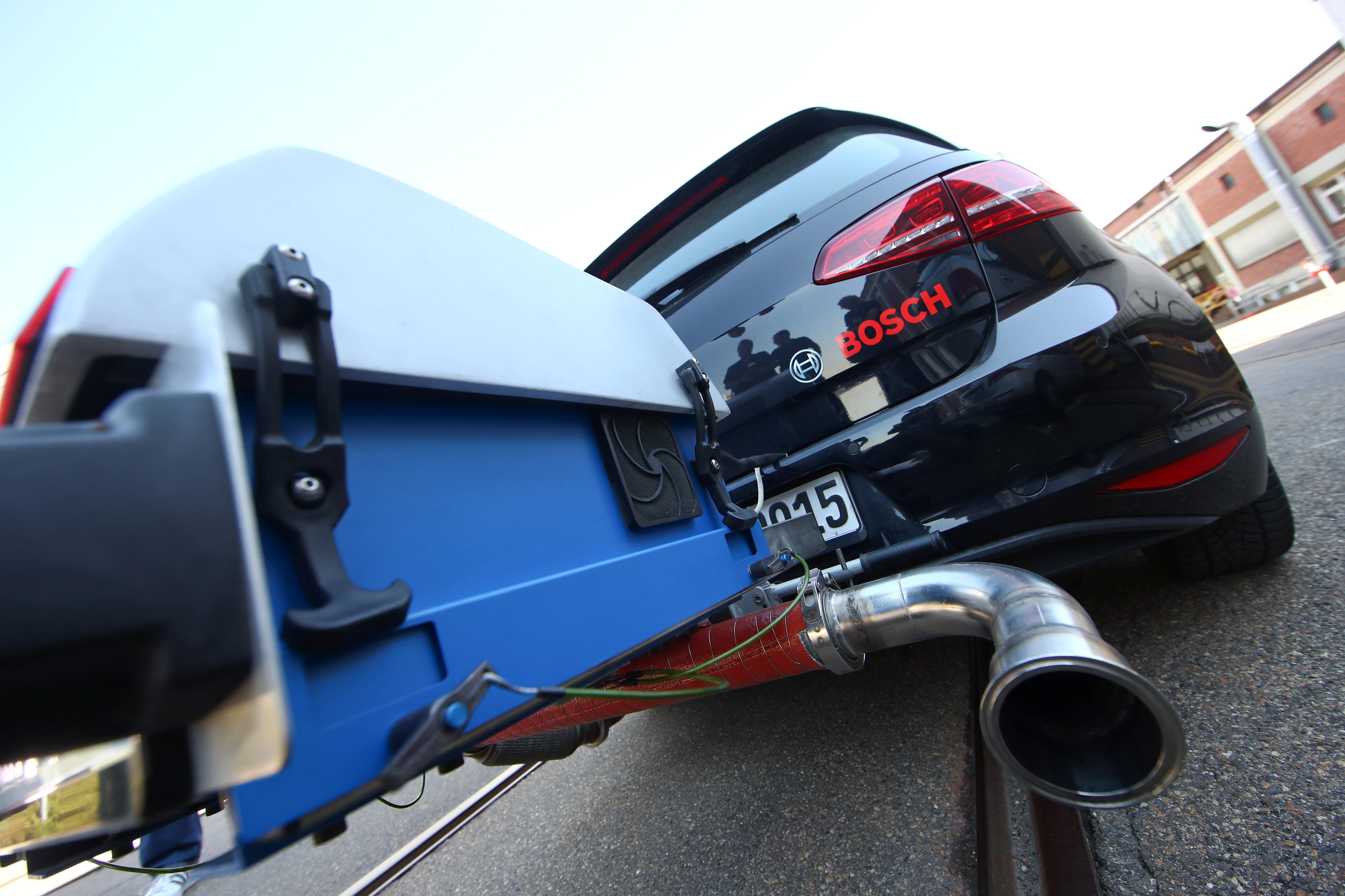 A Volkswagen VW Golf test vehicle featuring Bosch's new diesel technology is seen at the Bosch factory in Stuttgart, Germany April 17, 2018. REUTERS/Michael Dalder