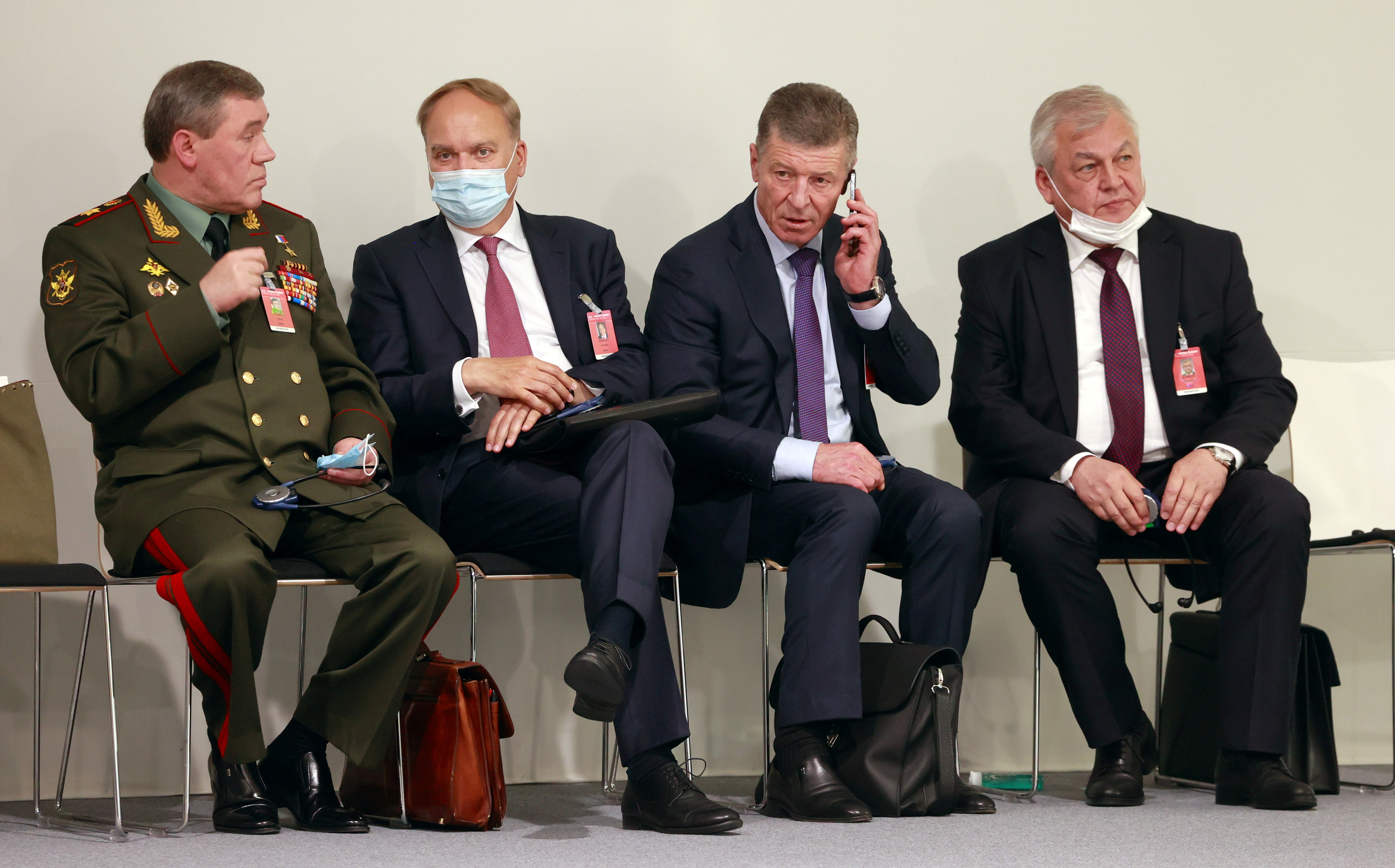 (L to R) Chief of the General Staff of Russian Armed Forces Valery Gerasimov, Russia's ambassador to the United States, Anatoly Antonov, Deputy Chief of Staff of the Presidential Executive Office Dmitry Kozak and Russia's Special Envoy to Syria Alexander Lavrentiev wait for Vladimir Putin news conference after the U.S.-Russia summit, in Geneva, Switzerland, June 16, 2021. Picture taken June 16, 2021. REUTERS/Denis Balibouse/File Photo