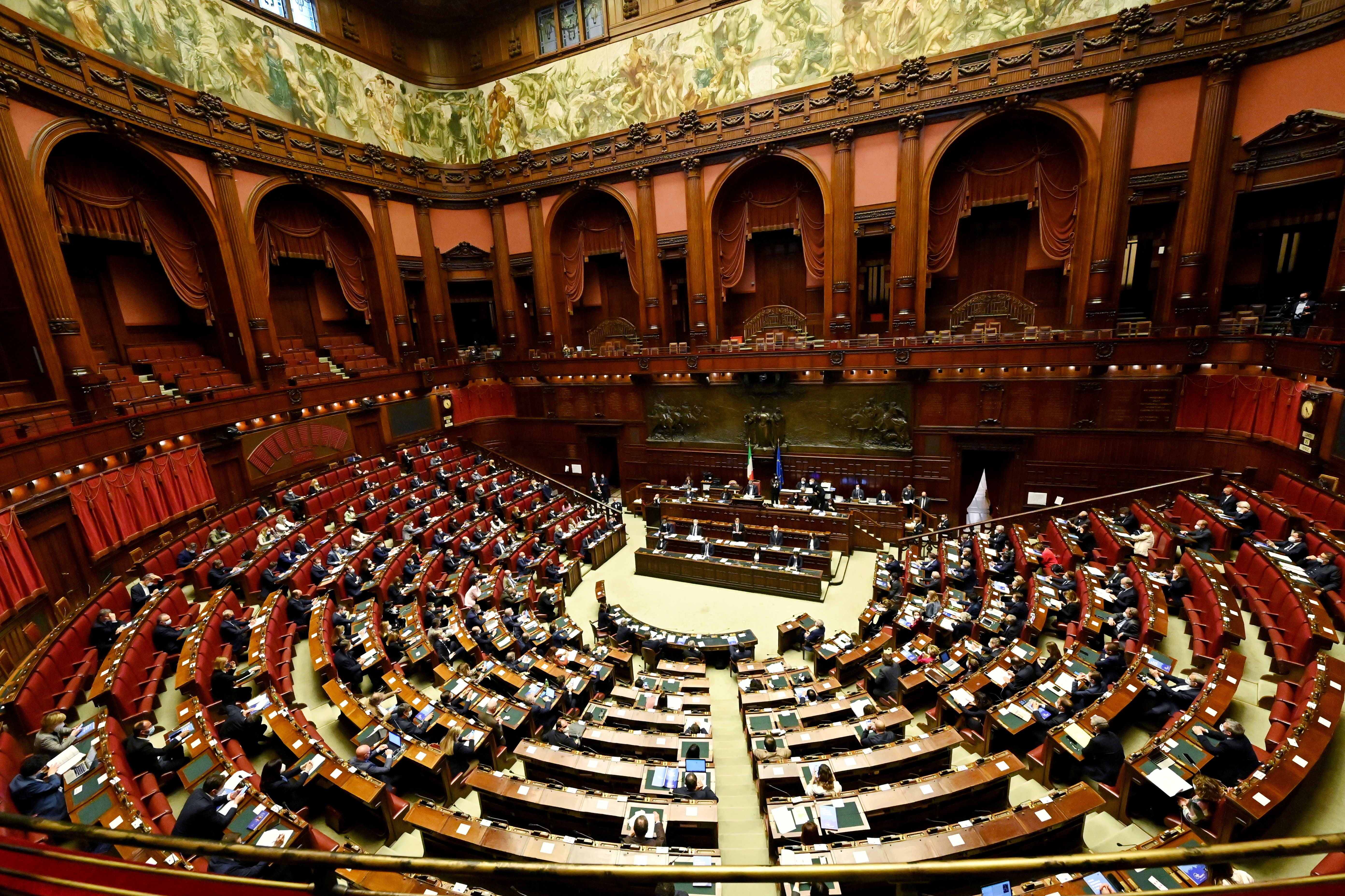 General view of the Italian Parliament as Prime Minister Mario Draghi addresses deputies on April 26, 2021 at Montecitorio palace in Rome with plans on how to spend EU recovery funds. Alberto Pizzoli/Pool via REUTERS