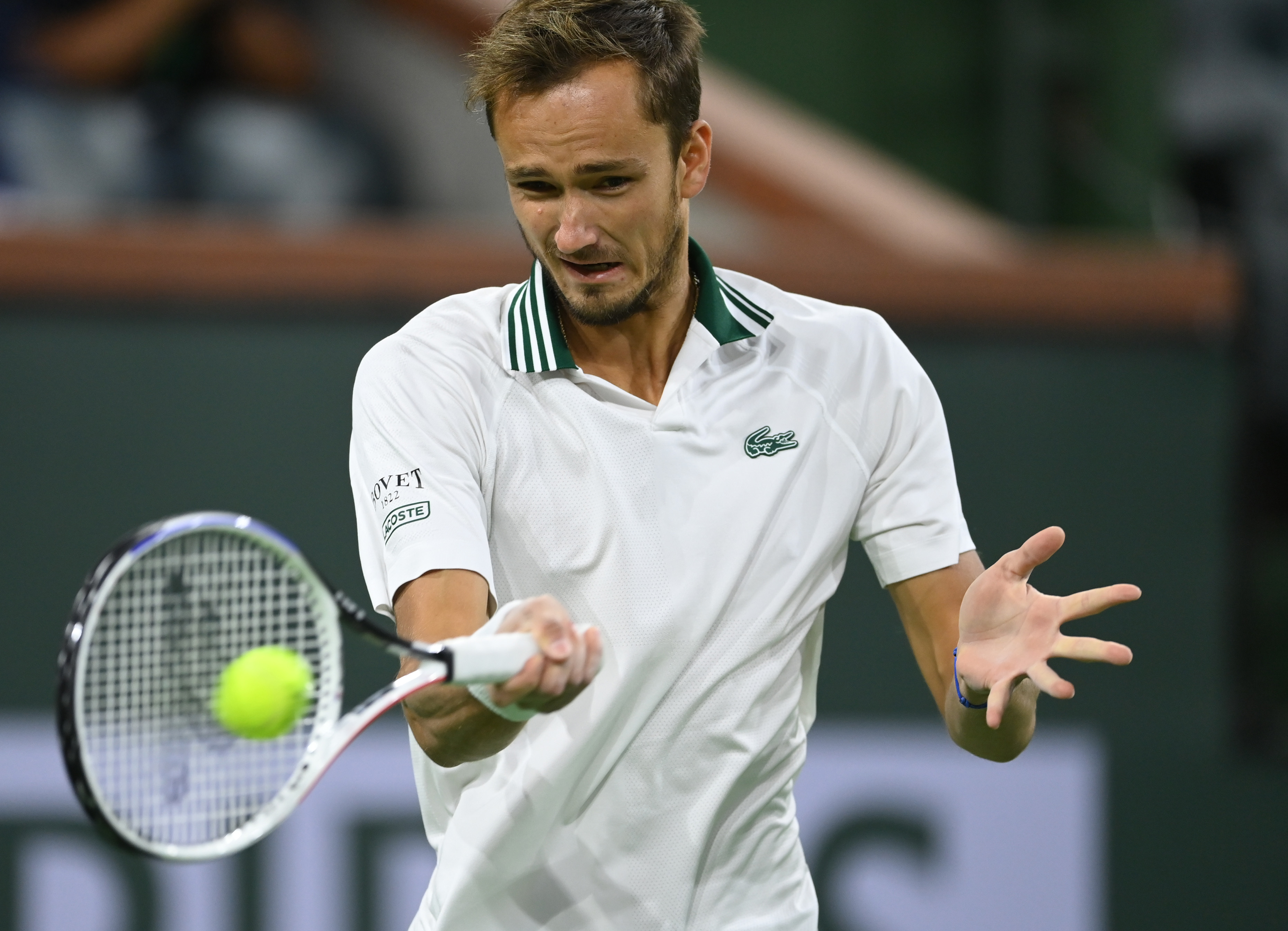Oct 11, 2021; Indian Wells, CA, USA; Daniil Medvedev (RUS) hits a shot against Filip Krajinovic (SRB) during a third round match in the BNP Paribas Open at the Indian Wells Tennis Garden. Mandatory Credit: Jayne Kamin-Oncea-USA TODAY Sports