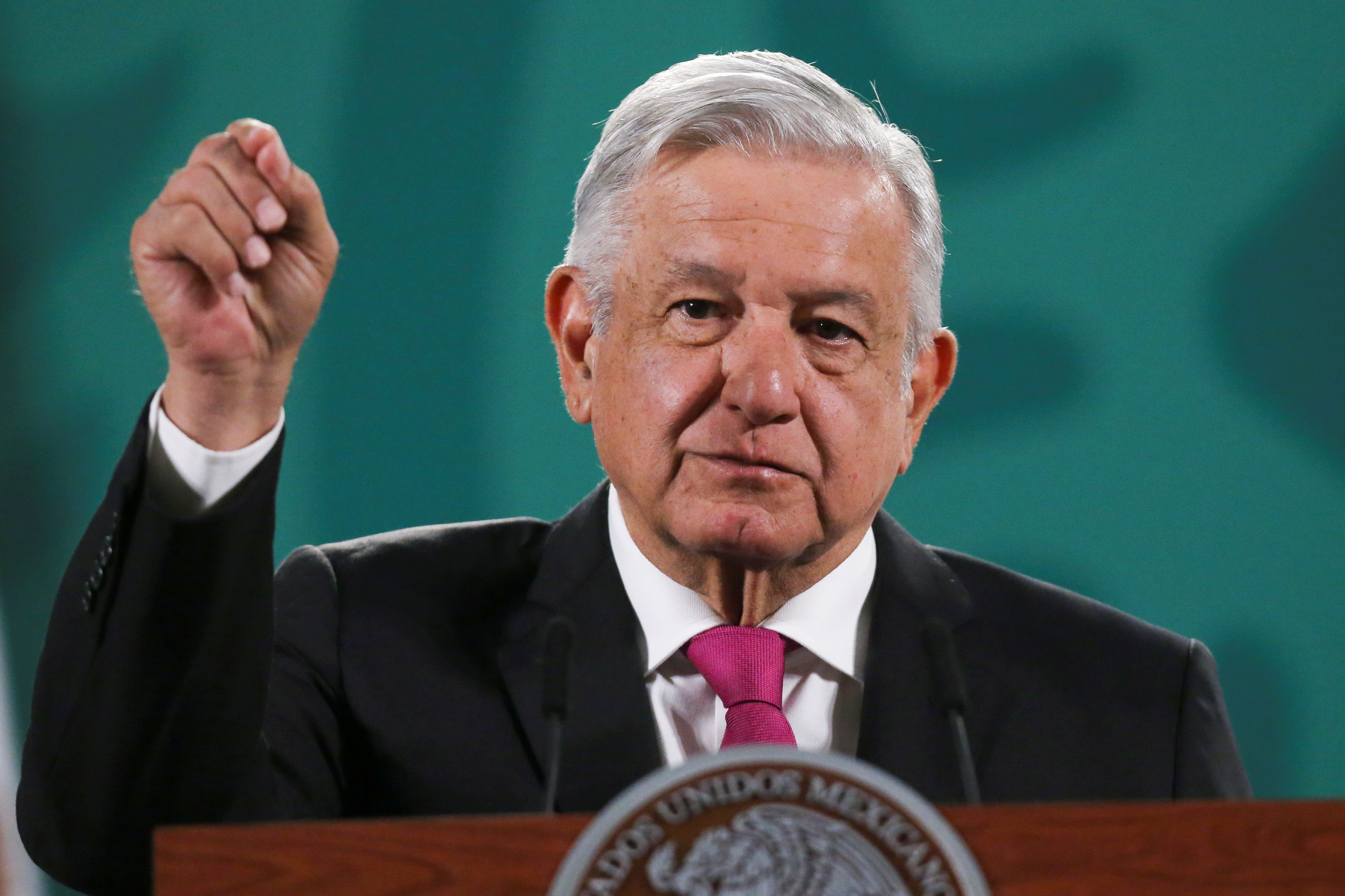 Mexico's President Andres Manuel Lopez Obrador speaks during a news conference at the National Palace in Mexico City, Mexico, April 13, 2021. REUTERS/Edgard Garrido