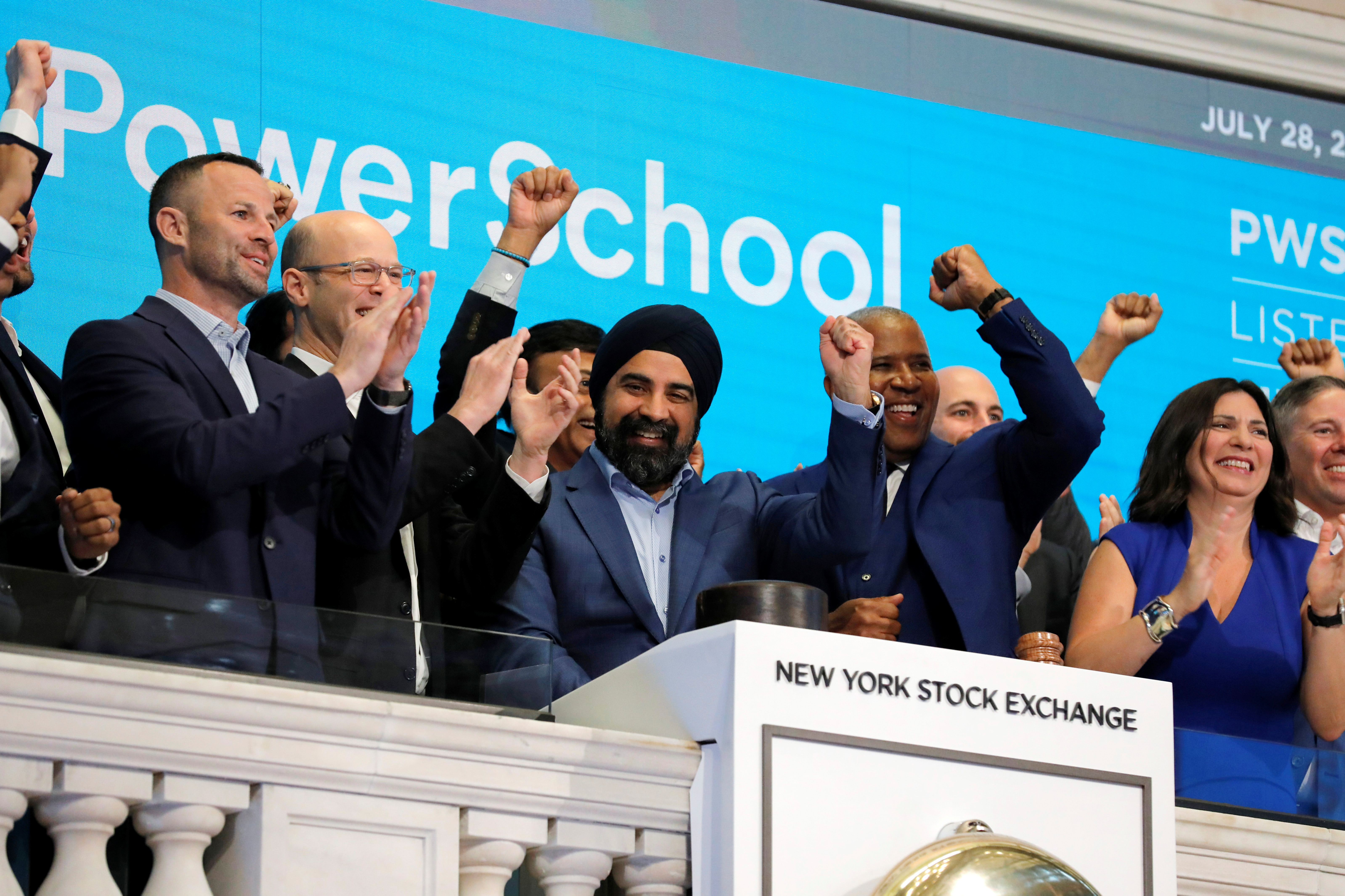 PowerSchool CEO Hardeep Gulati rings the opening bell for their Initial public offering (IPO) the New York Stock Exchange (NYSE) in New York City, New York, U.S., July 28, 2021. REUTERS/Andrew Kelly