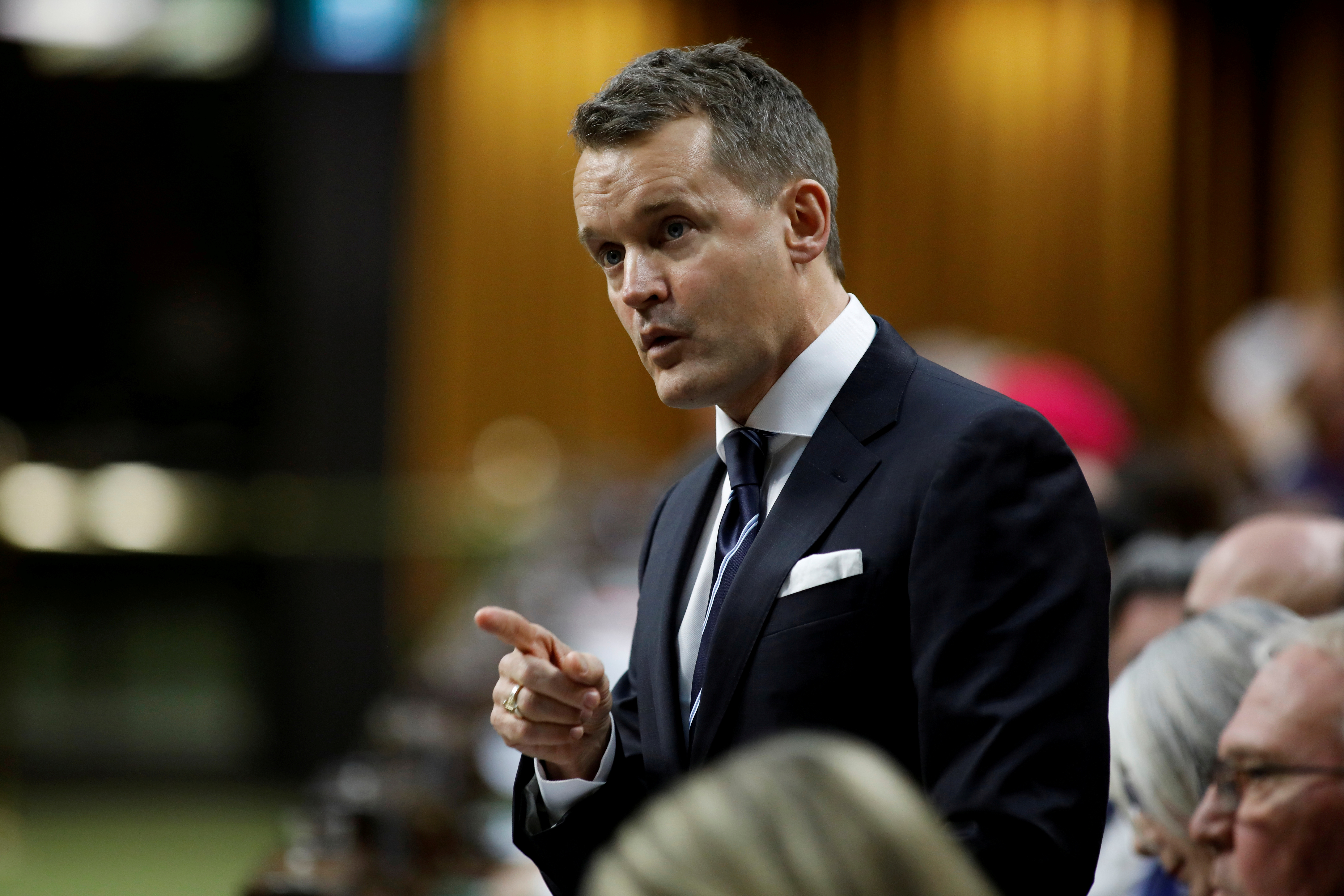 Canada's Minister of Natural Resources Seamus O'Regan speaks during Question Period in the House of Commons on Parliament Hill in Ottawa, Ontario, Canada December 10, 2019.  REUTERS/Blair Gable/File Photo