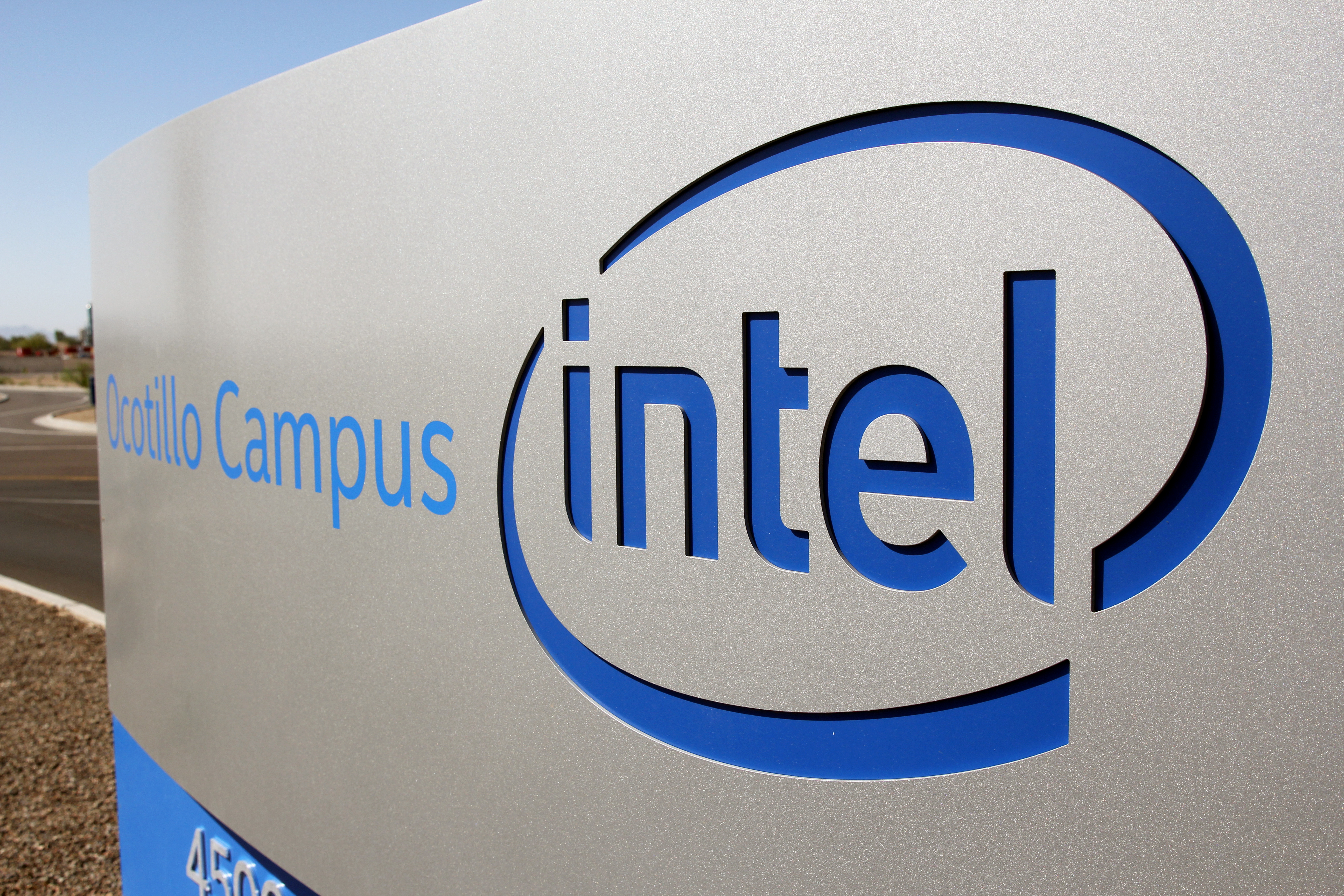 The logo for the Intel Corporation is seen on a sign outside the Fab 42 microprocessor manufacturing site in Chandler, Arizona, U.S., October 2, 2020. REUTERS/Nathan Frandino/File Photo