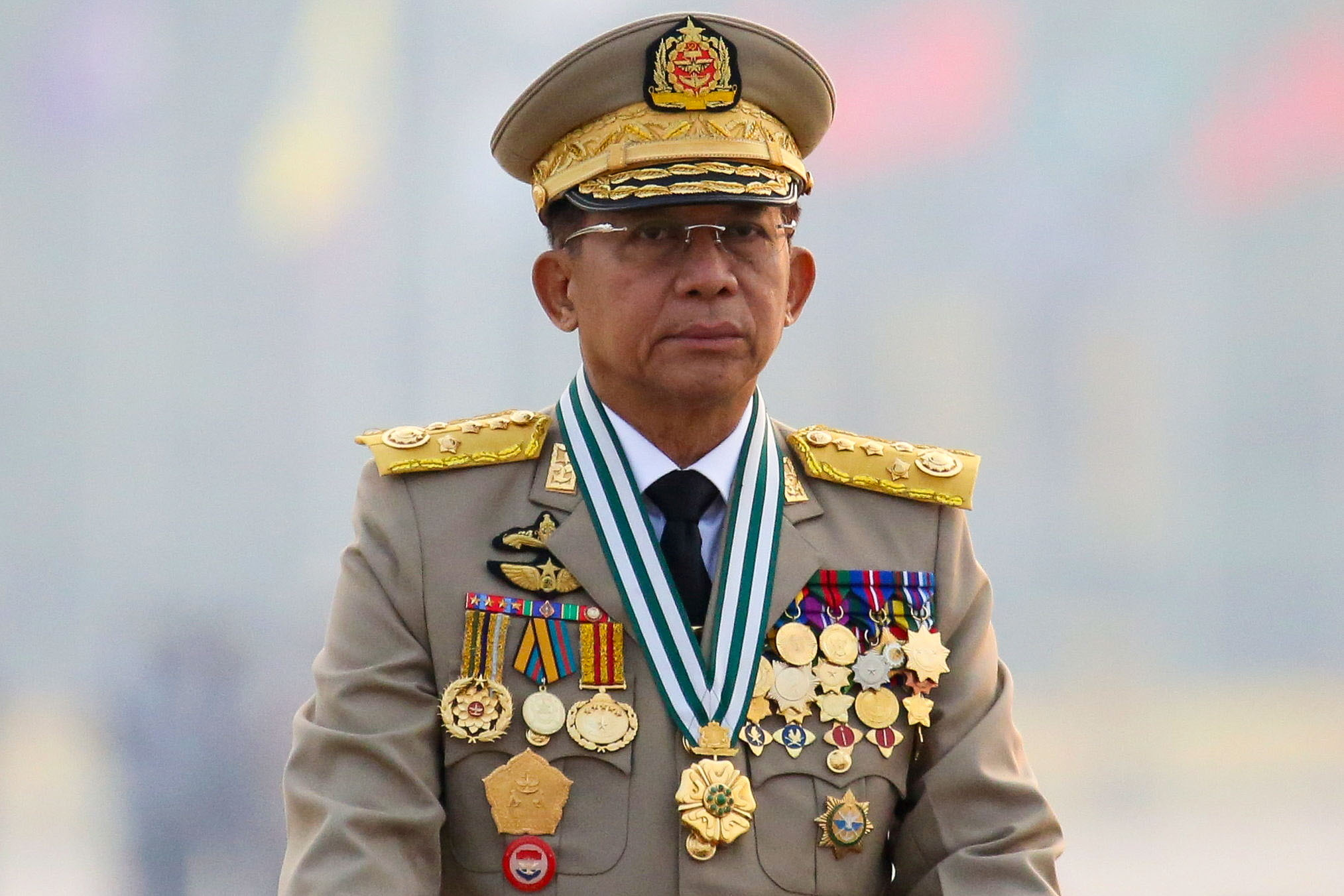 Myanmar's junta chief Senior General Min Aung Hlaing, who ousted the elected government in a coup on February 1, presides an army parade on Armed Forces Day in Naypyitaw, Myanmar, March 27, 2021. REUTERS/Stringer/File Photo