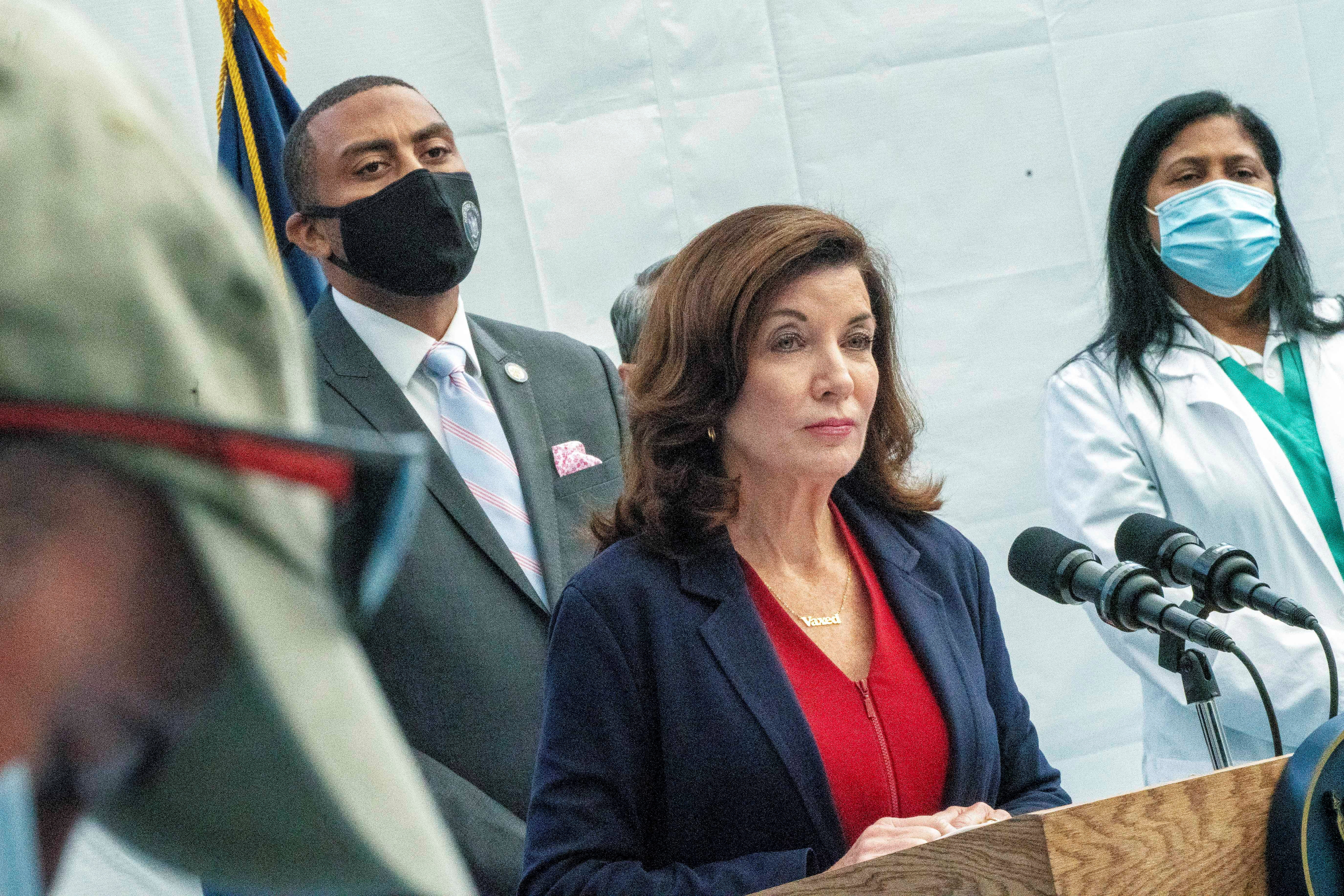 New York State Governor Kathy Hochul speaks during a news conference about the coronavirus disease (COVID-19) vaccination mandate for healthcare workers, in New York City, U.S., September 27, 2021. REUTERS/David 'Dee' Delgado