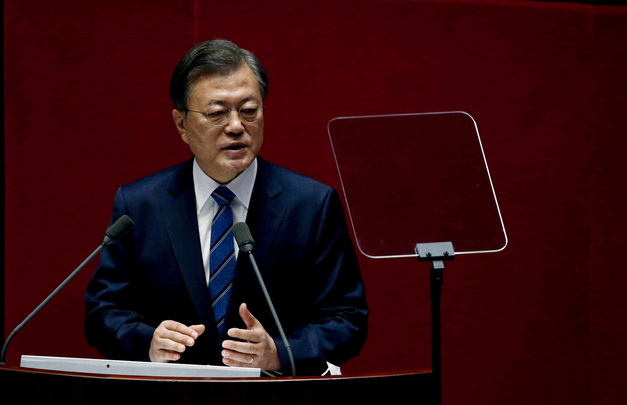 South Korean President Moon Jae-in speaks at the National Assembly in Seoul, South Korea, October 28, 2020. Jeon Heon-Kyun/Pool via REUTERS
