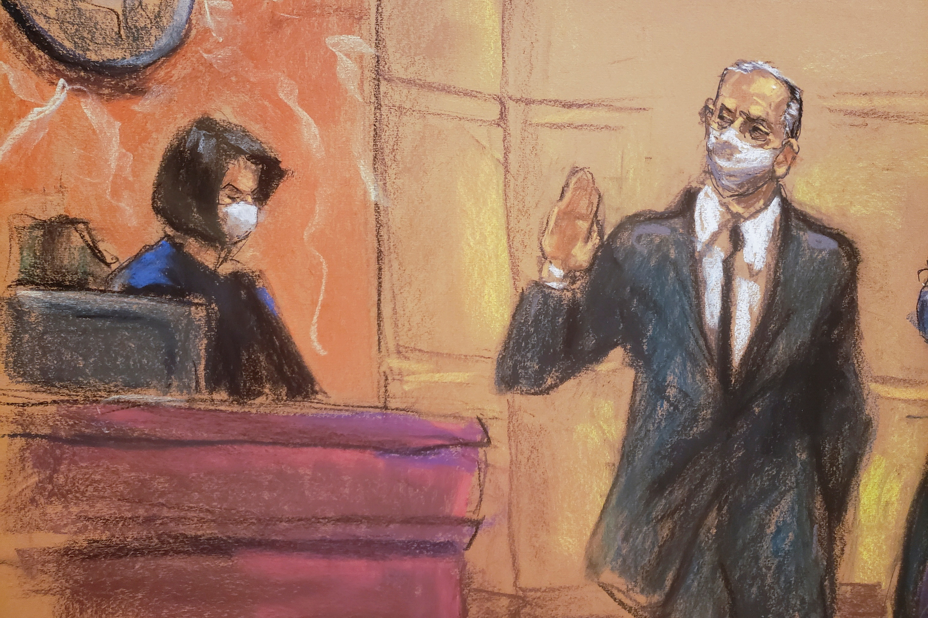 Mexico's former Defense Minister Salvador Cienfuegos takes the oath before Judge Carol Bagley Amon during a hearing to consider a U.S. government request to drop drug charges, in a courtroom sketch in the Brooklyn borough of New York City, U.S. November 18, 2020. REUTERS/Jane Rosenberg