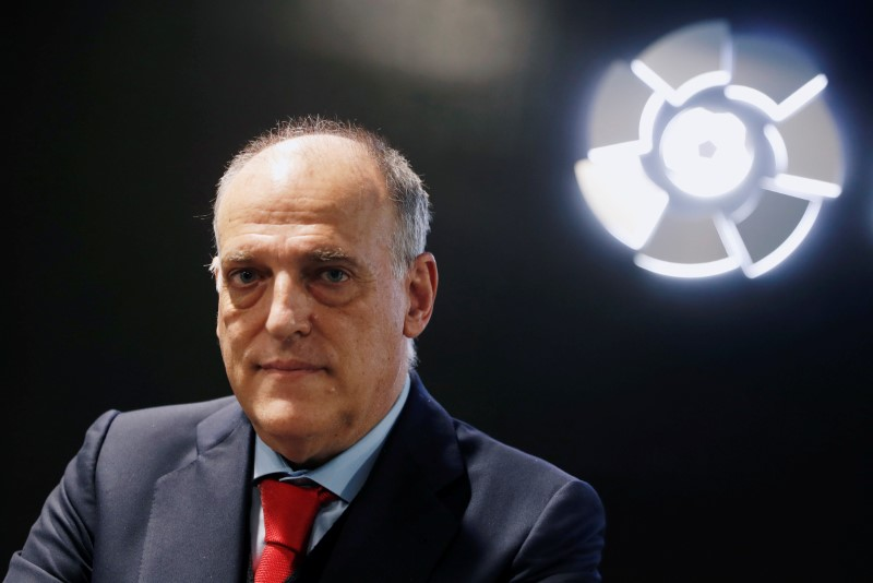 La Liga President Javier Tebas poses before an online interview with Reuters at the La Liga headquarters in Madrid, Spain January 27, 2021. REUTERS/Susana Vera