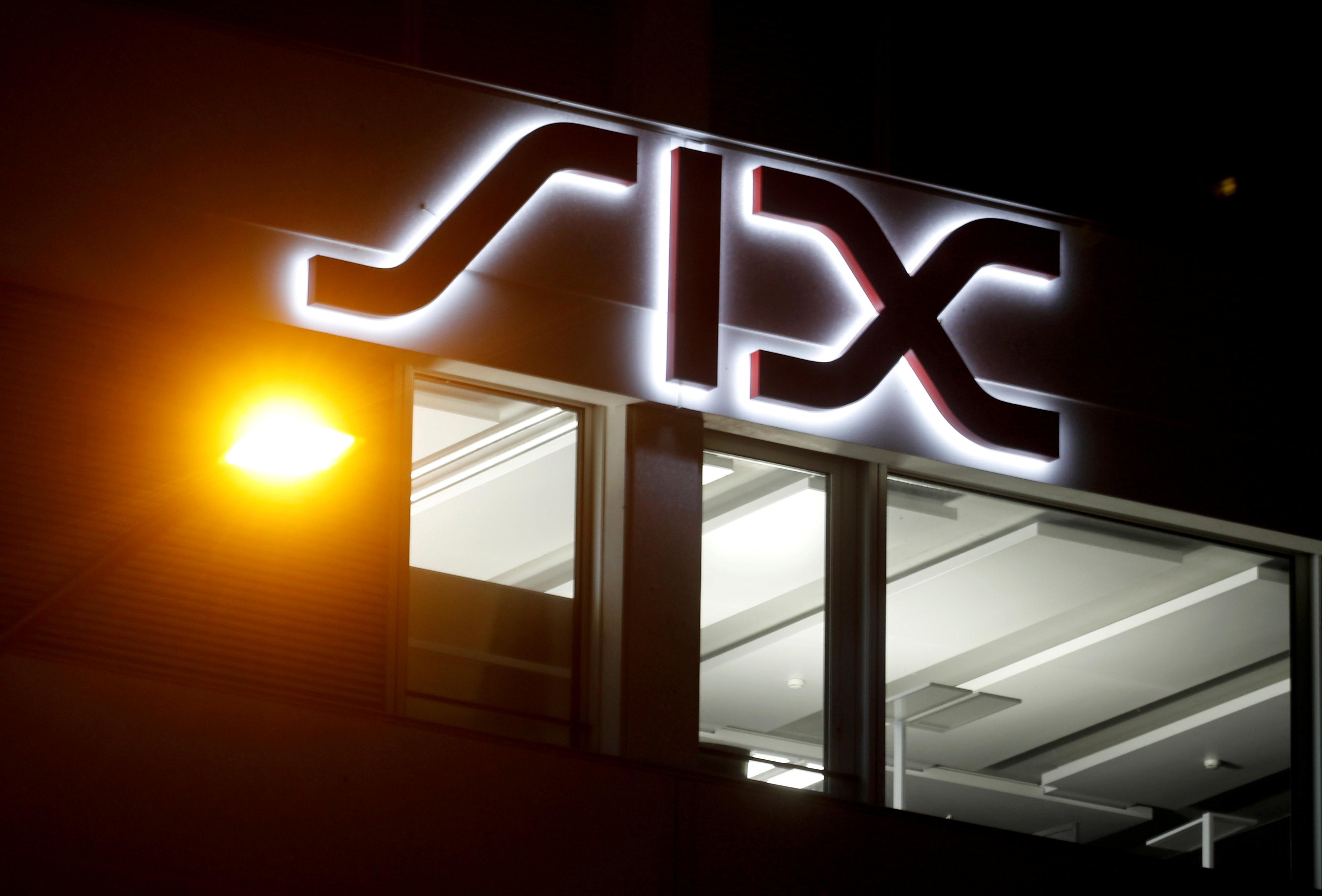 A logo logo is seen at the seat of Swiss stock exchange operator SIX Group in Zurich, Switzerland June 17, 2019. REUTERS/Arnd Wiegmann