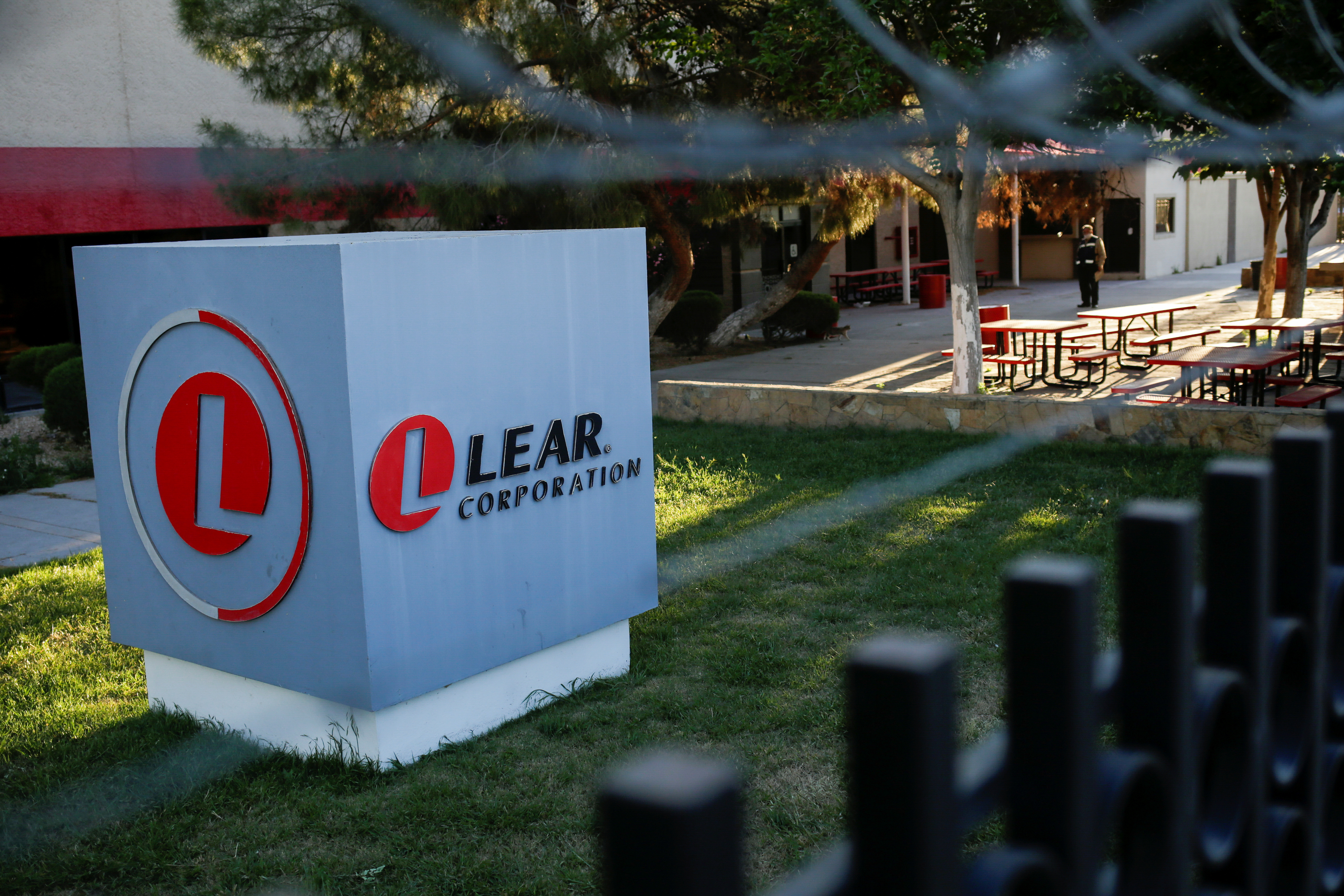 The logo of Lear Corporation, a Michigan-based car seat maker, is pictured at one of their premises during the coronavirus disease (COVID-19) outbreak, in Ciudad Juarez, Mexico April 16, 2020. REUTERS/Jose Luis Gonzalez