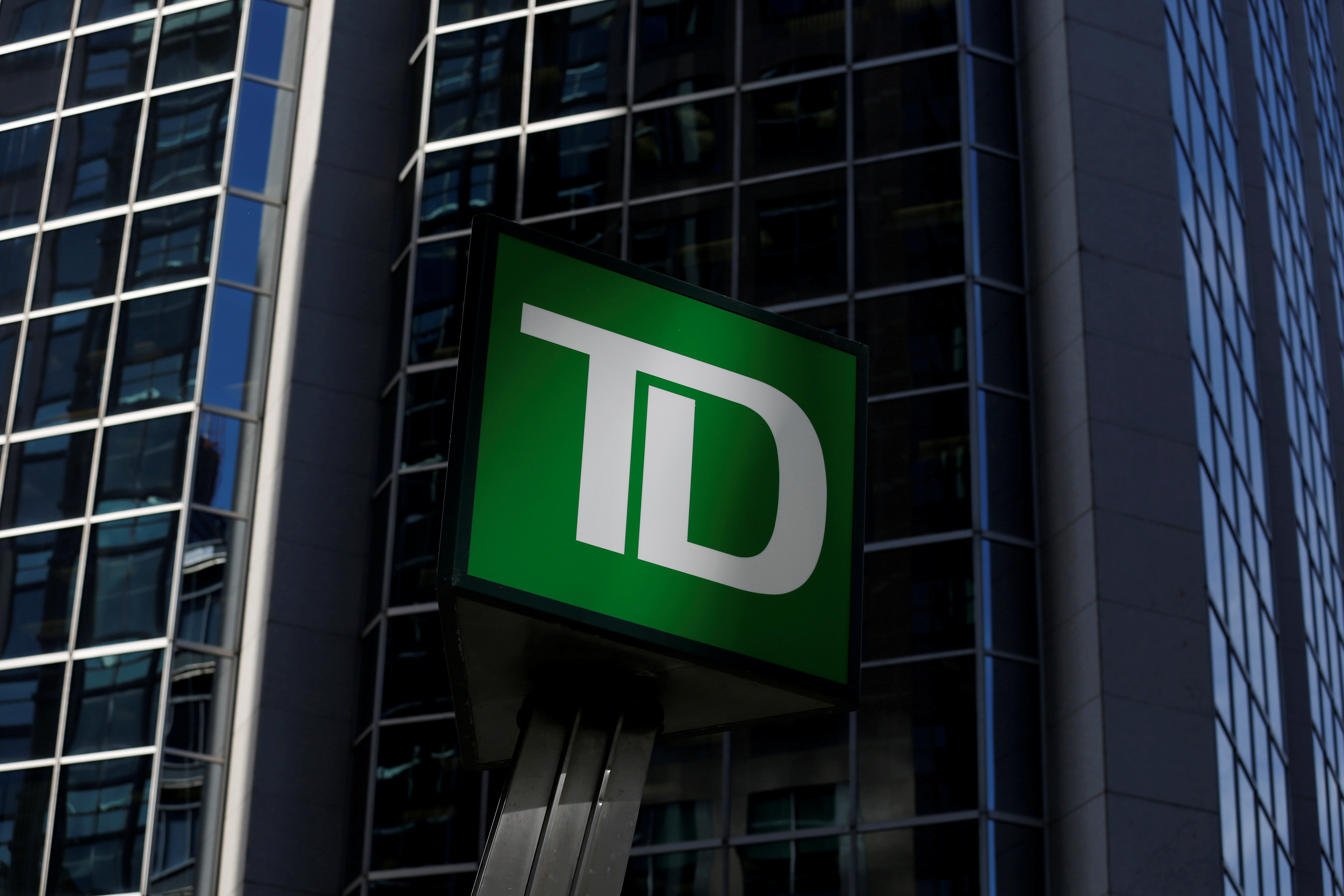 A Toronto-Dominion Bank (TD) sign is seen outside of a branch in Ottawa, Ontario, Canada, May 26, 2016. REUTERS/Chris Wattie/File Photo