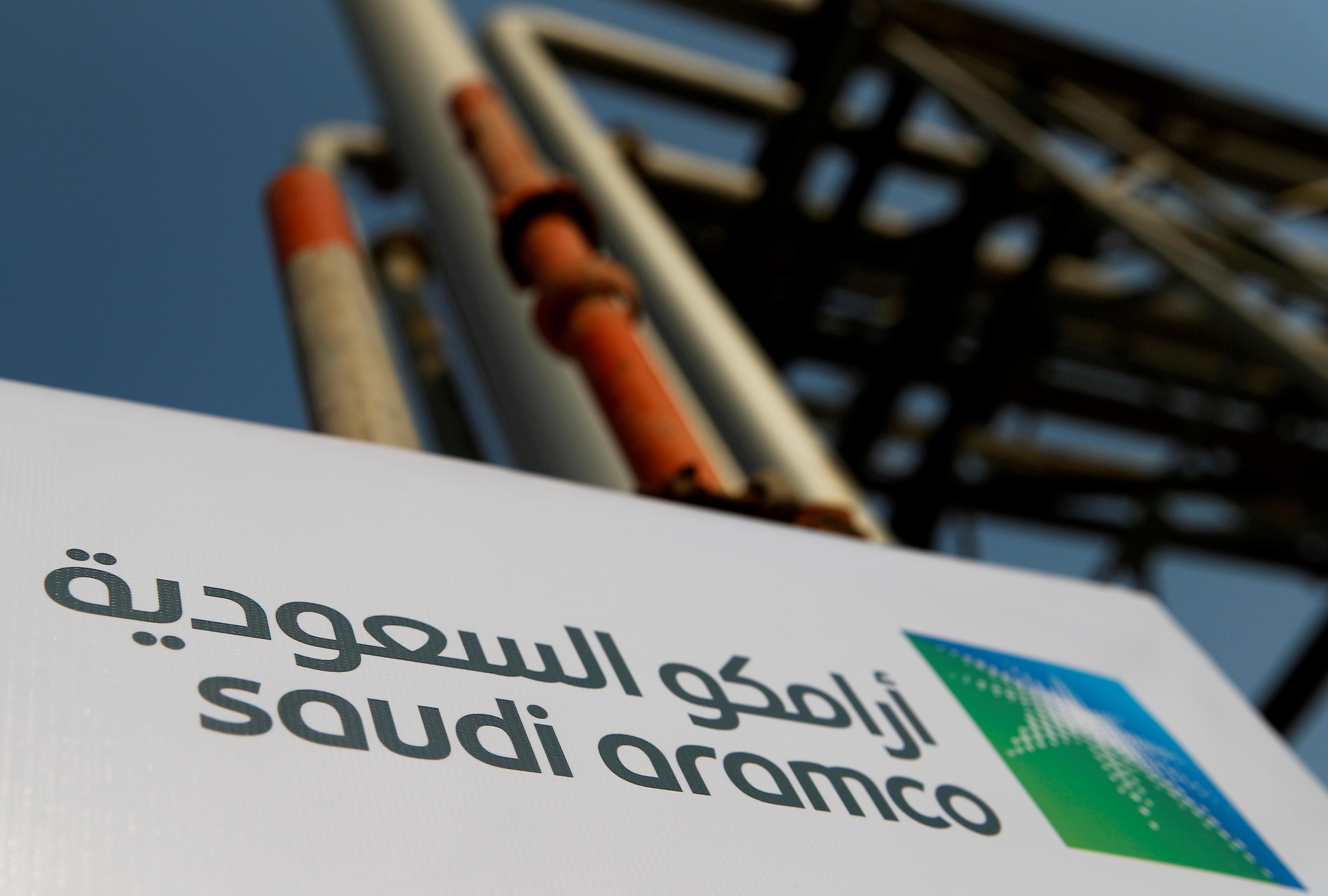 Saudi Aramco logo is pictured at the oil facility in Abqaiq, Saudi Arabia October 12, 2019. REUTERS/Maxim Shemetov/File Photo