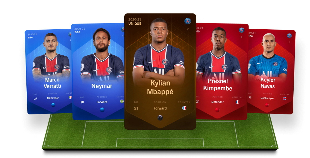Digital collectible cards representing football players are seen in this handout illustration image from the online fantasy football game Sorare obtained by Reuters on September 20, 2021. Sorare/Handout via REUTERS