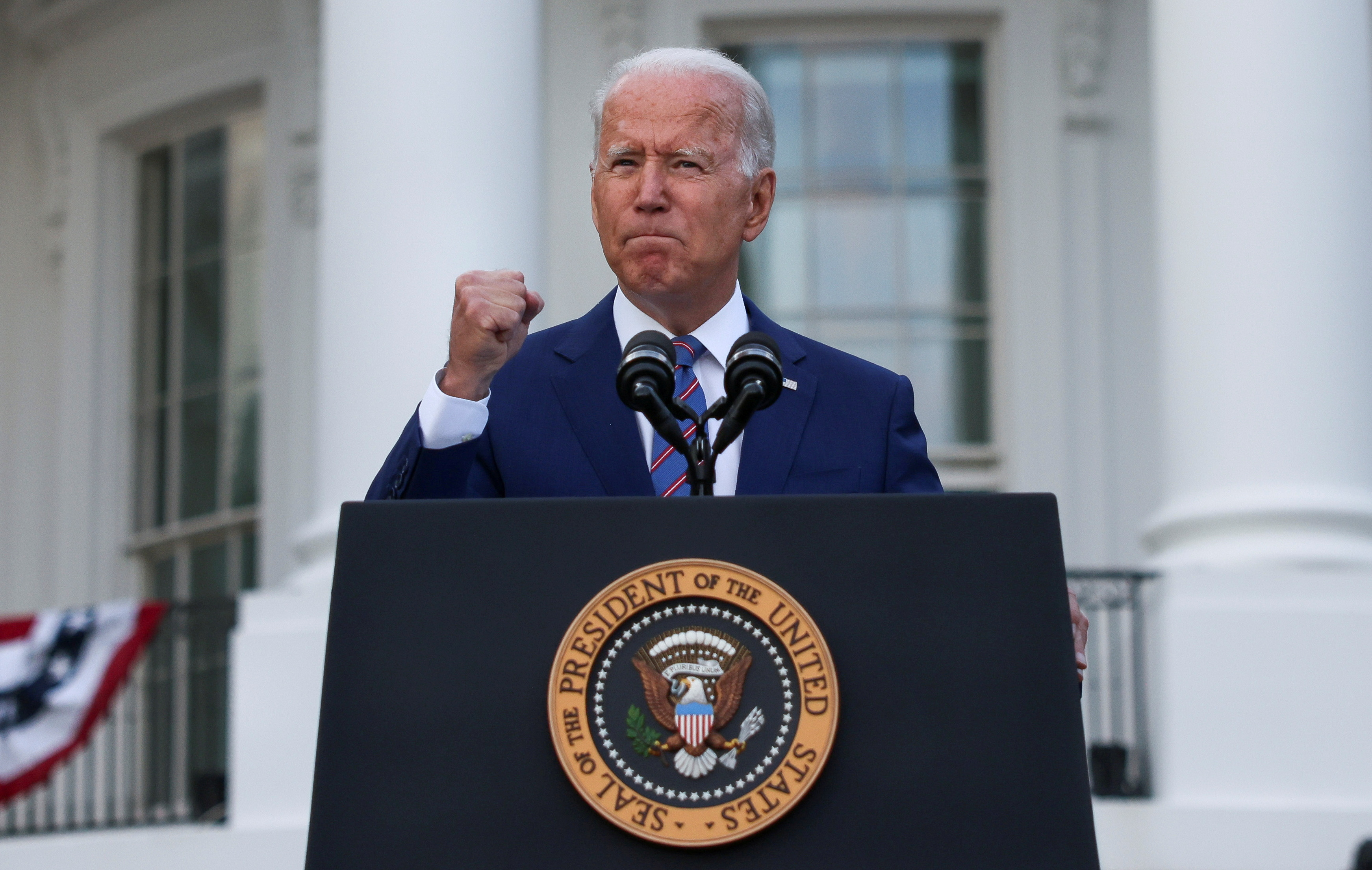 U.S. President Joe Biden delivers remarks at the White House at a celebration of Independence Day in Washington, U.S., July 4, 2021. REUTERS/Evelyn Hockstein/File Photo