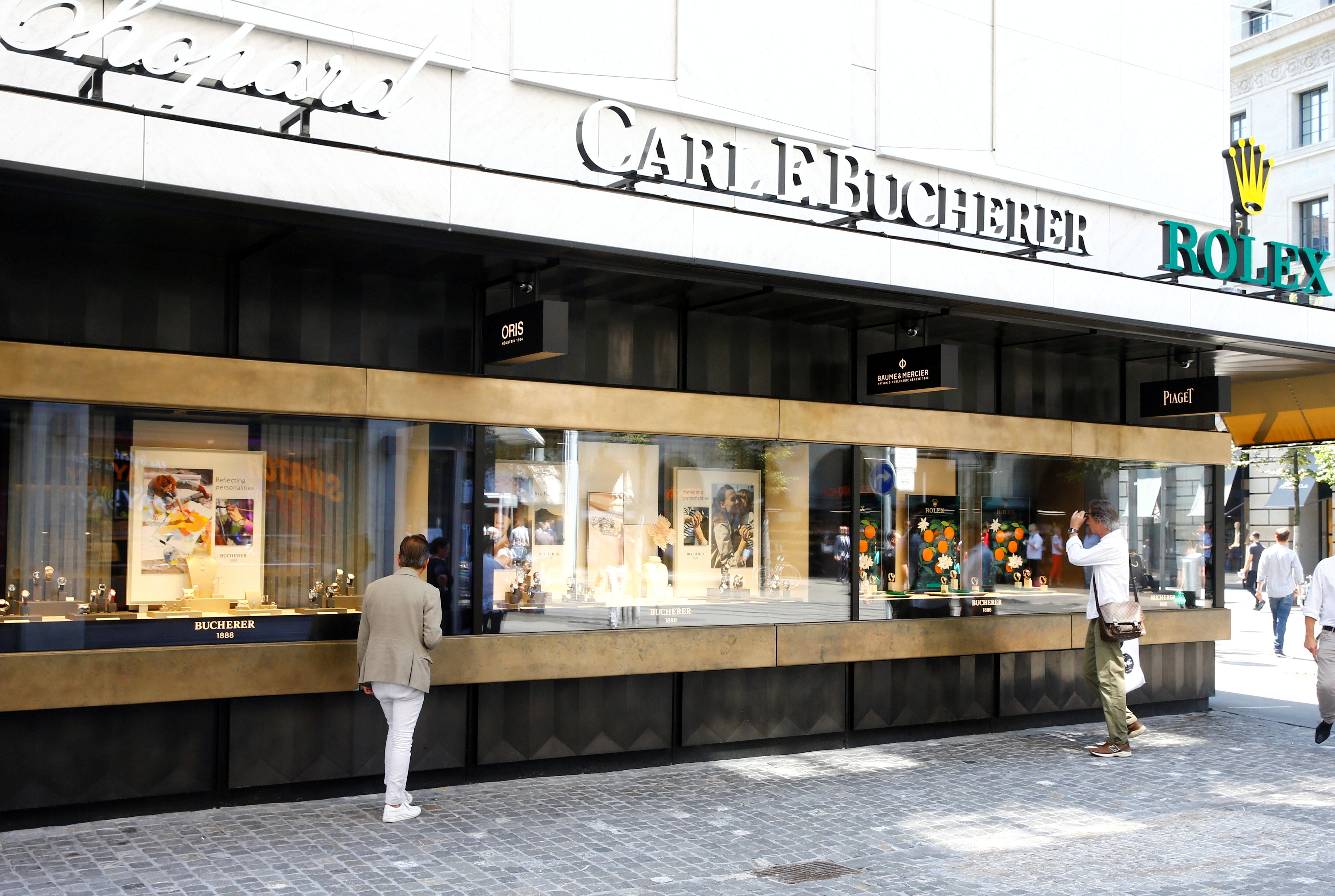 A Bucherer watch and jewellery shop is seen at the Bahnhofstrasse shopping street in Zurich, Switzerland August 12, 2020.   REUTERS/Arnd Wiegmann/File Photo