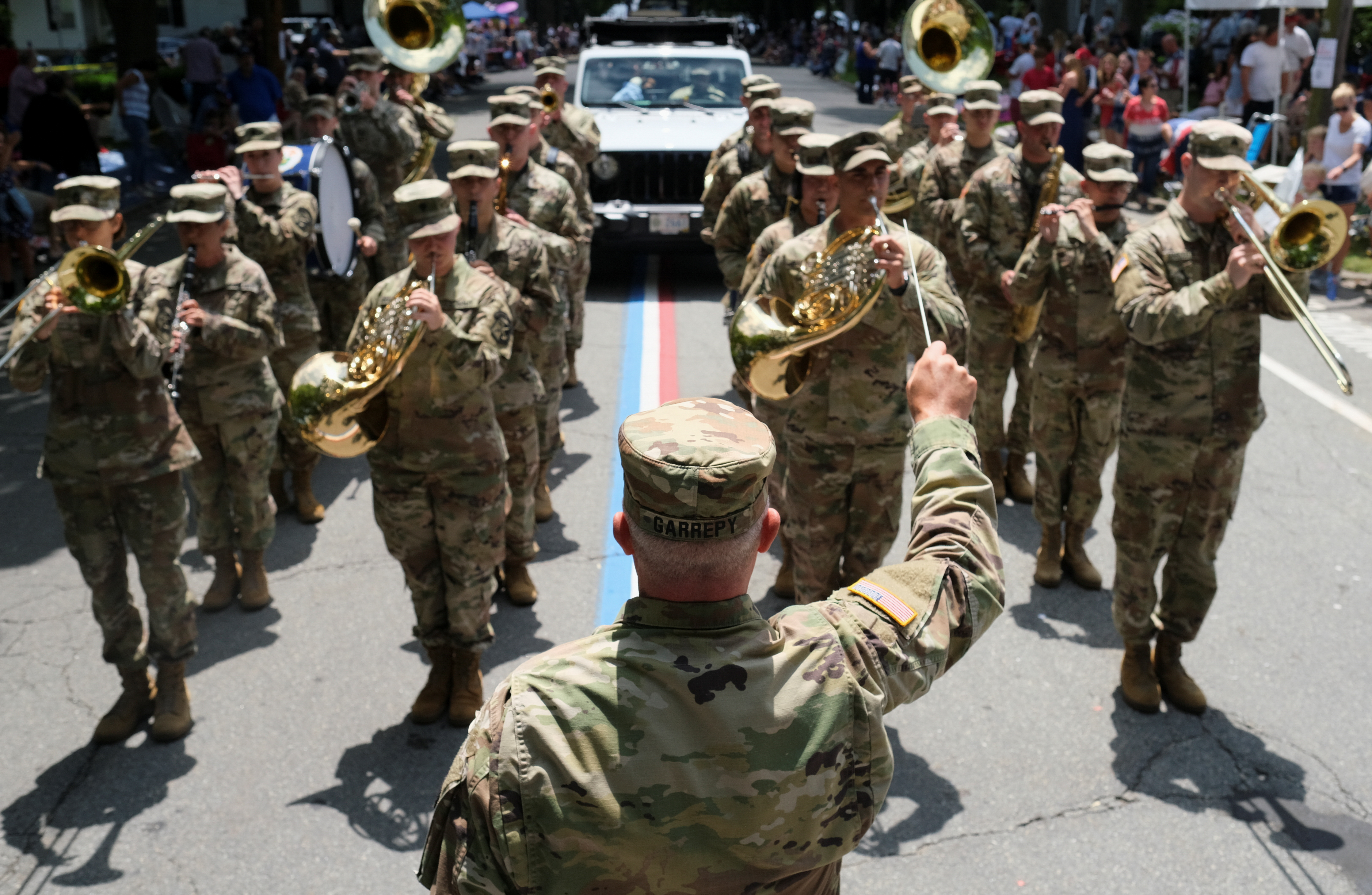 A Military bands perform during the 236th annual Military, Civic, and Firemen's Parade as part of 4th of July celebrations in Bristol, Rhode Island, U.S., July 5, 2021.  REUTERS/Quinn Glabicki