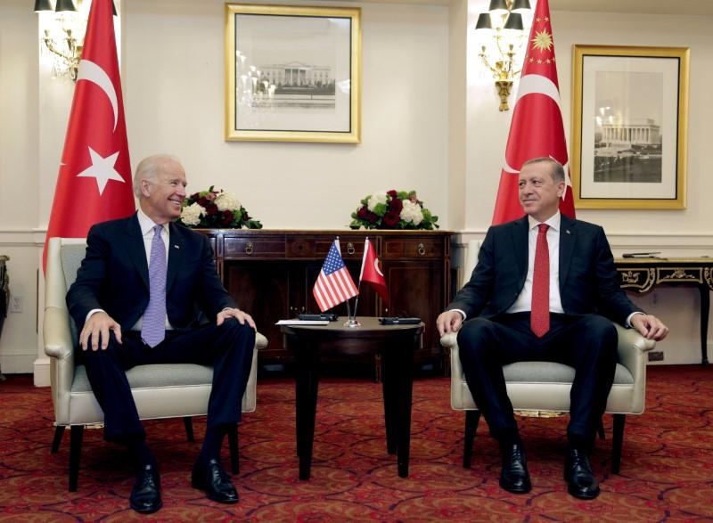 U.S. Vice President Joe Biden (L) attends a bilateral meeting with Turkish President Tayyip Erdogan in Washington March 31, 2016. REUTERS/Joshua Roberts/File Photo