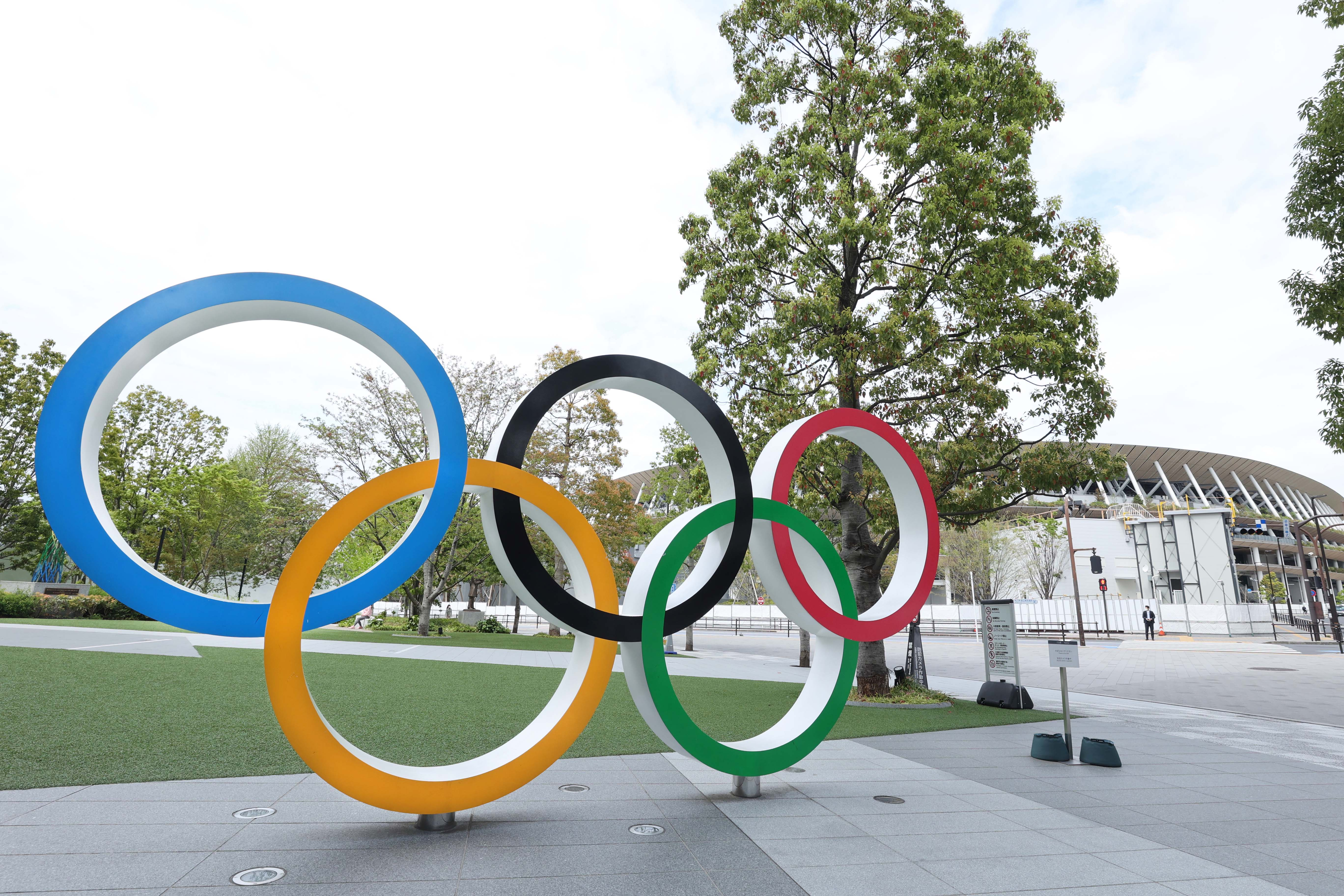 Apr 6, 2021; Tokyo, JAPAN; General view of the Olympic rings sculpture near the Japan National Stadium in preparation for the Tokyo 2020 Olympic Summer Games set to begin in July 2021. Mandatory Credit: Yukihito Taguchi-USA TODAY Sports