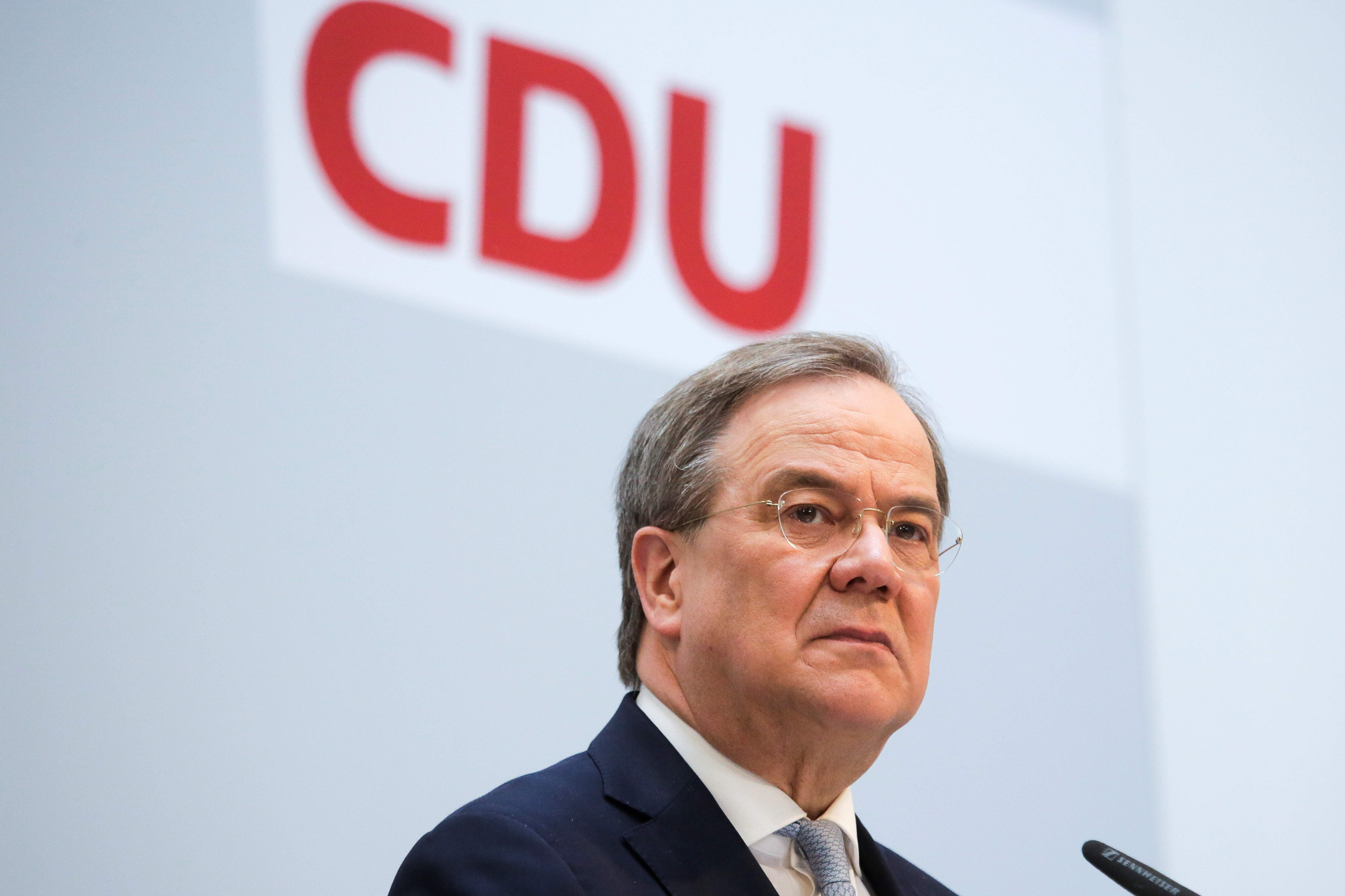 German Christian Democratic Union Party Leader Armin Laschet briefs the media after a meeting of the party's board at the headquarters in Berlin, Germany, April 12, 2021. Markus Schreiber/Pool via Reuters