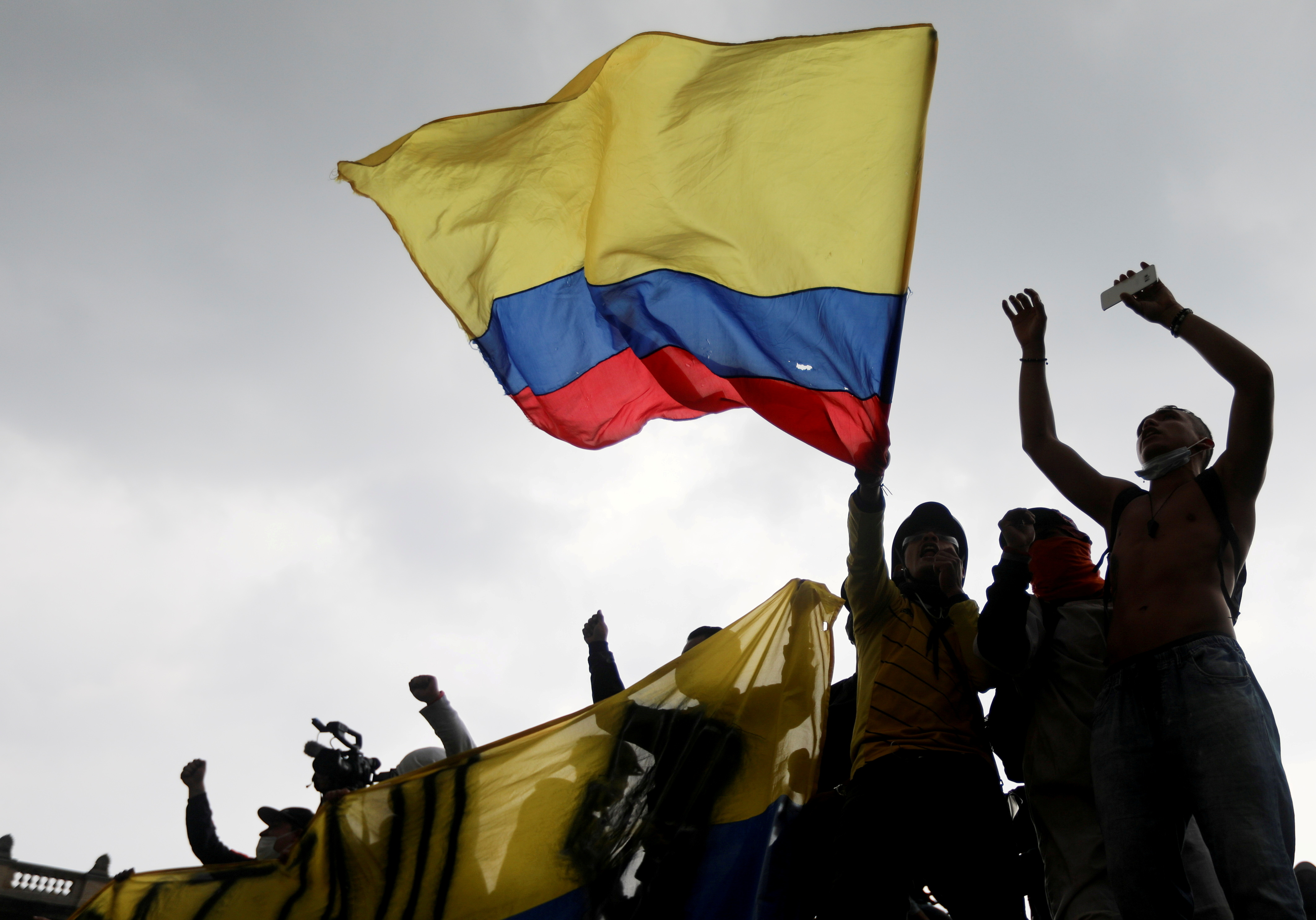 Demonstrators take part in a protest against the tax reform of President Ivan Duque's government in Bogota, Colombia, May 1, 2021. REUTERS/Luisa Gonzalez/