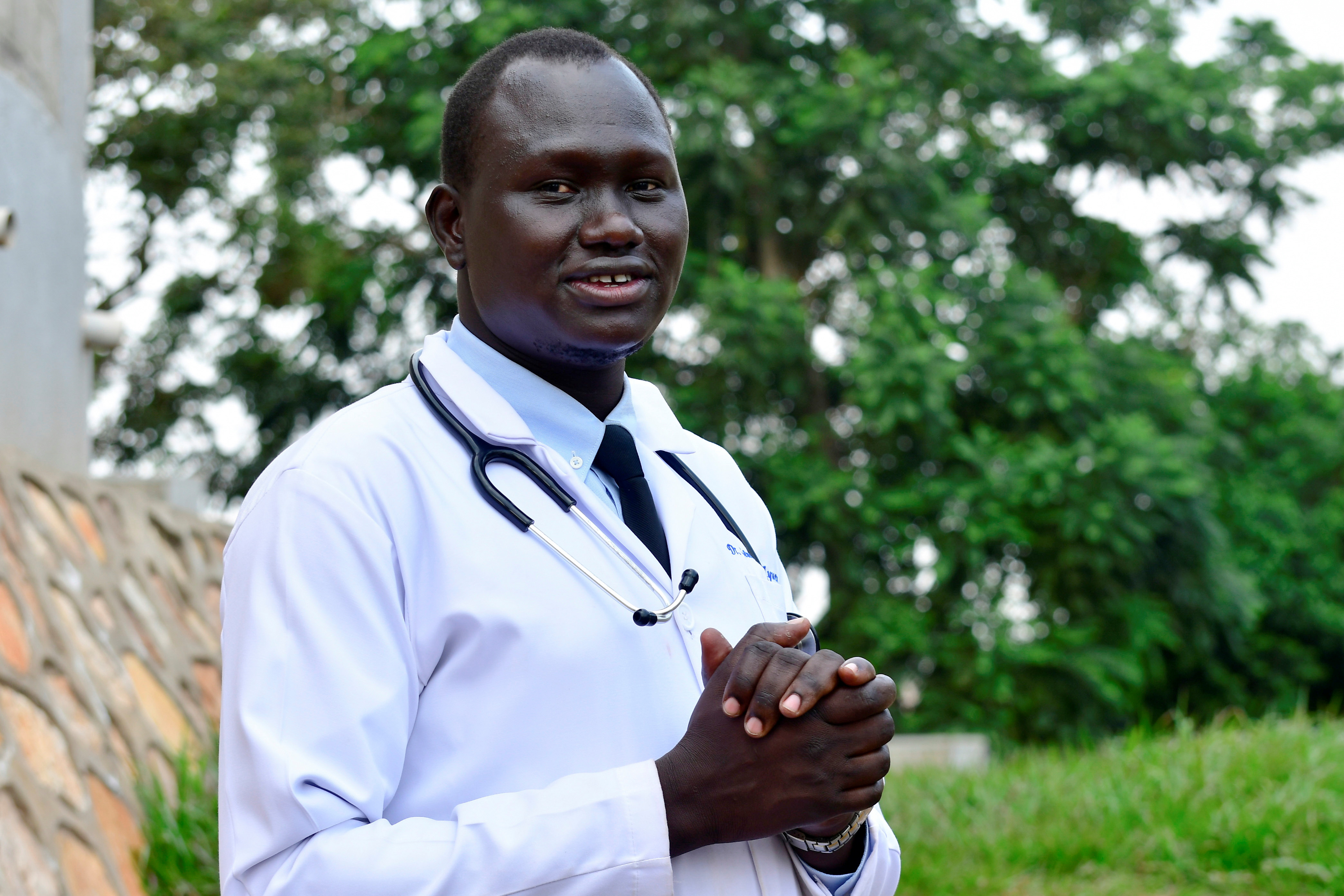 Samuel Dhol Ayeun, a trainee doctor who fled from South Sudan to Uganda. REUTERS/Abubaker Lubowa