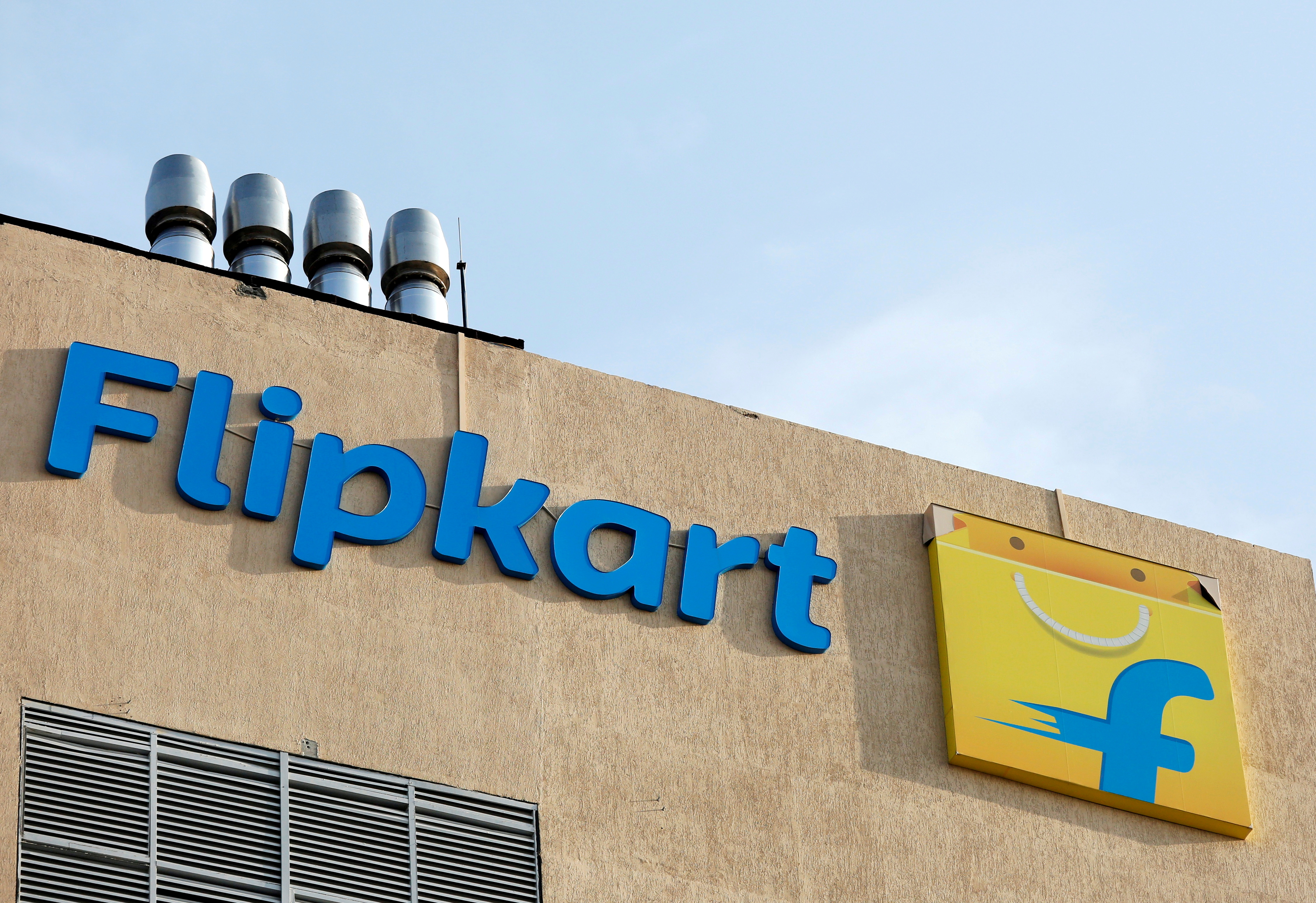 The logo of Flipkart is seen on the company's office in Bengaluru, India, May 9, 2018. REUTERS/Abhishek N. Chinnappa