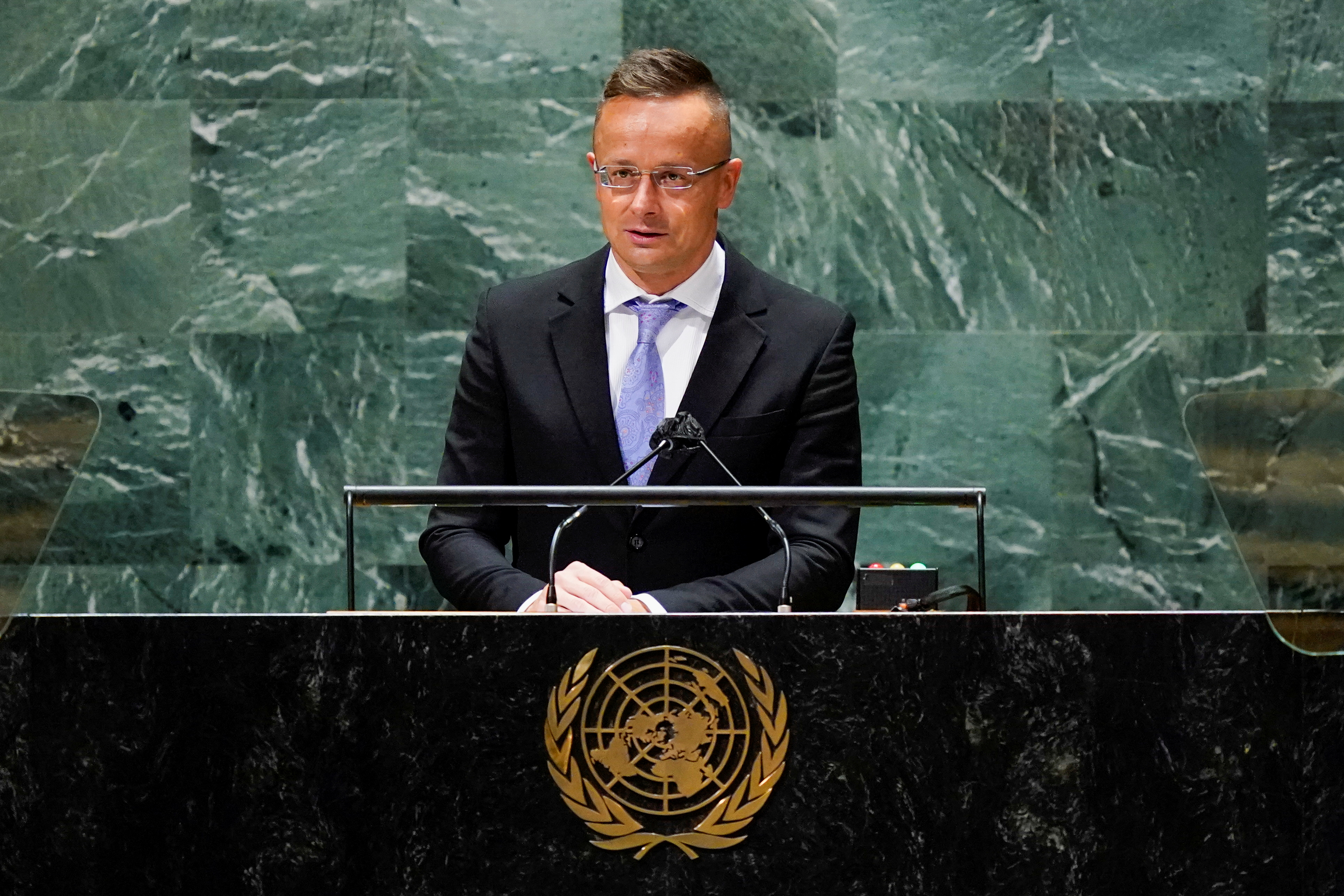 Hungary's Foreign Minister Peter Szijjarto addresses the 76th Session of the United Nations General Assembly, at the U.N. headquarters in New York, U.S., September 23, 2021. Mary Altaffer/Pool via REUTERS