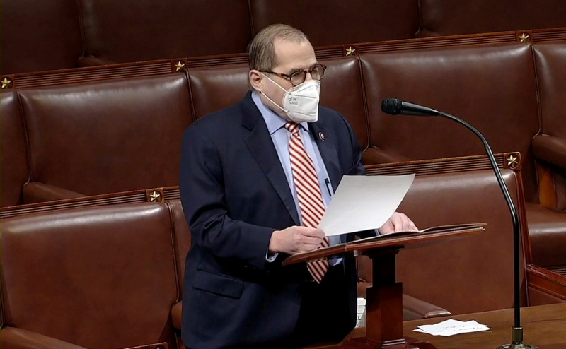 U.S. Representative Jerrold Nadler speaks during debate ahead of a House of Representatives vote on impeachment against then-U.S. President Donald Trump in this frame grab from video shot inside the House Chamber of the Capitol in Washington, U.S., January 13, 2021. House TV via REUTERS/File Photo