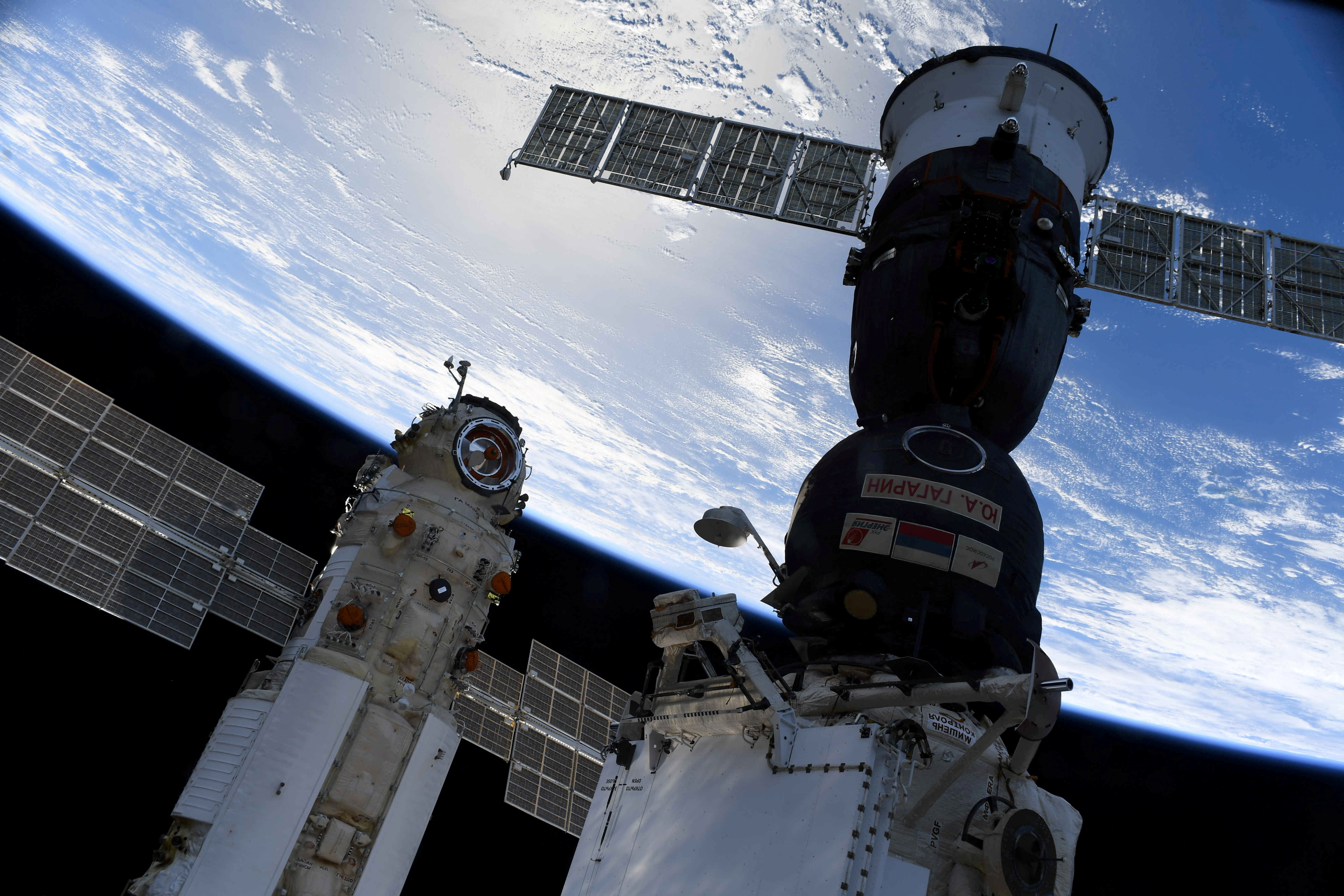 The Nauka (Science) Multipurpose Laboratory Module is seen docked to the International Space Station (ISS) next to next to Soyuz MS-18 spacecraft on July 29, 2021. Picture taken July 29, 2021.  Oleg Novitskiy/Roscosmos/Handout via REUTERS