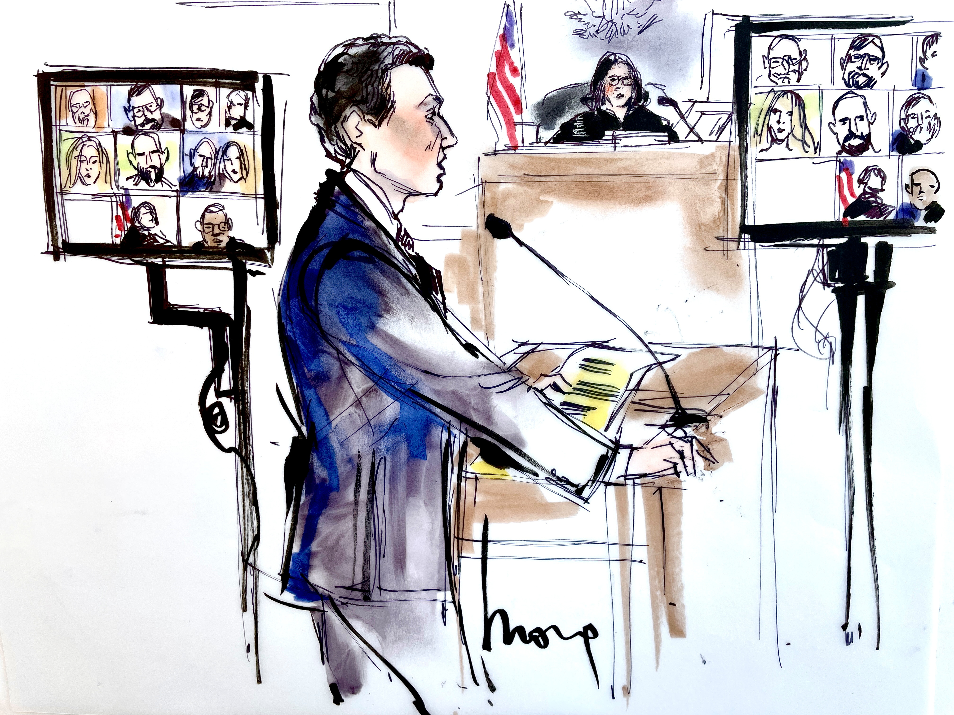 Michael Grimes' attorney Michael Freedman speaks during a virtual court appearance for Grimes and Thomas Barrack, a billionaire friend of Donald Trump who chaired the former president's inaugural fund, in Los Angeles, California, U.S., July 23, 2021 in this courtroom sketch. REUTERS/Mona Edwards