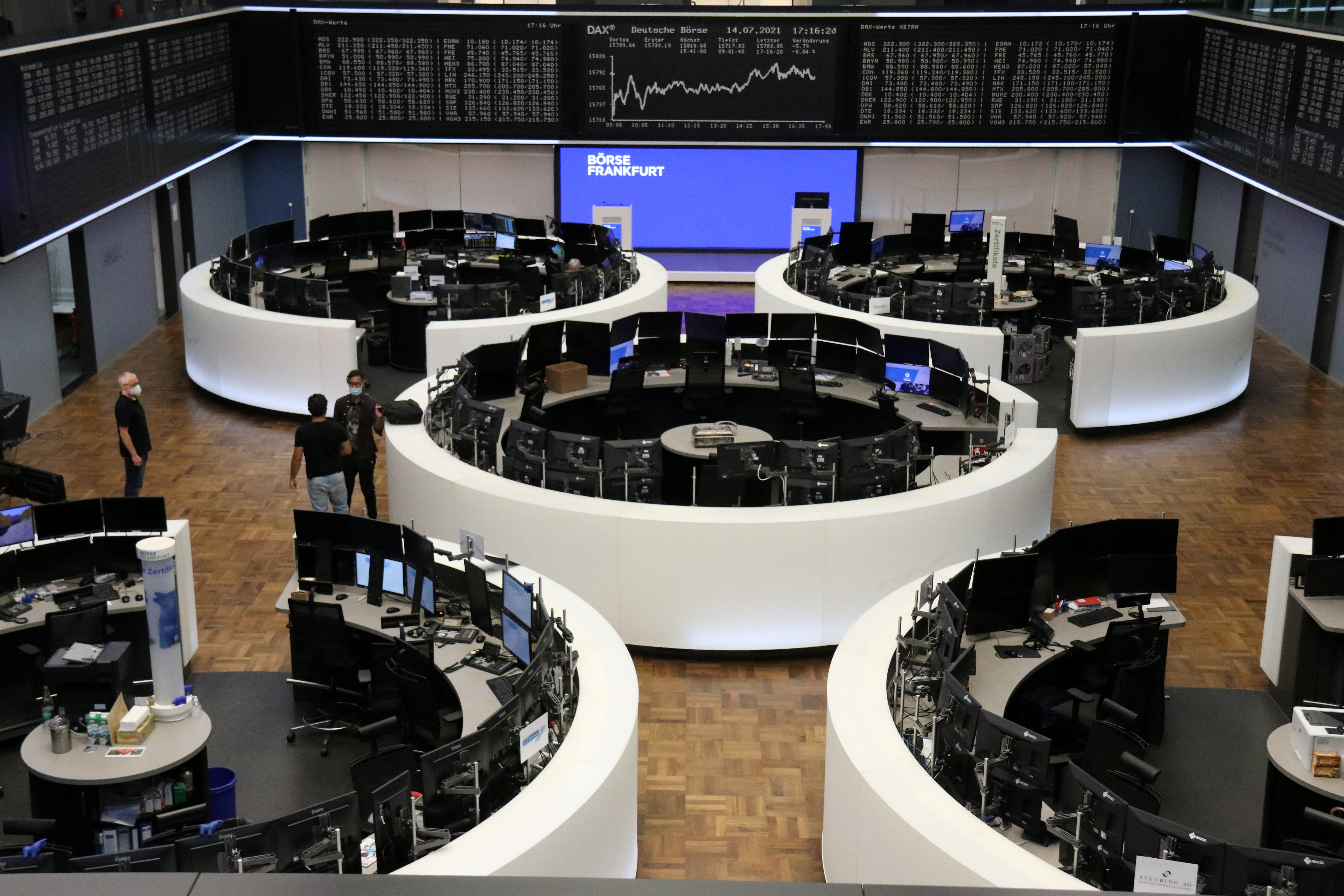 The German share price index DAX graph is pictured at the stock exchange in Frankfurt, Germany, July 14, 2021. REUTERS/Staff/File photo