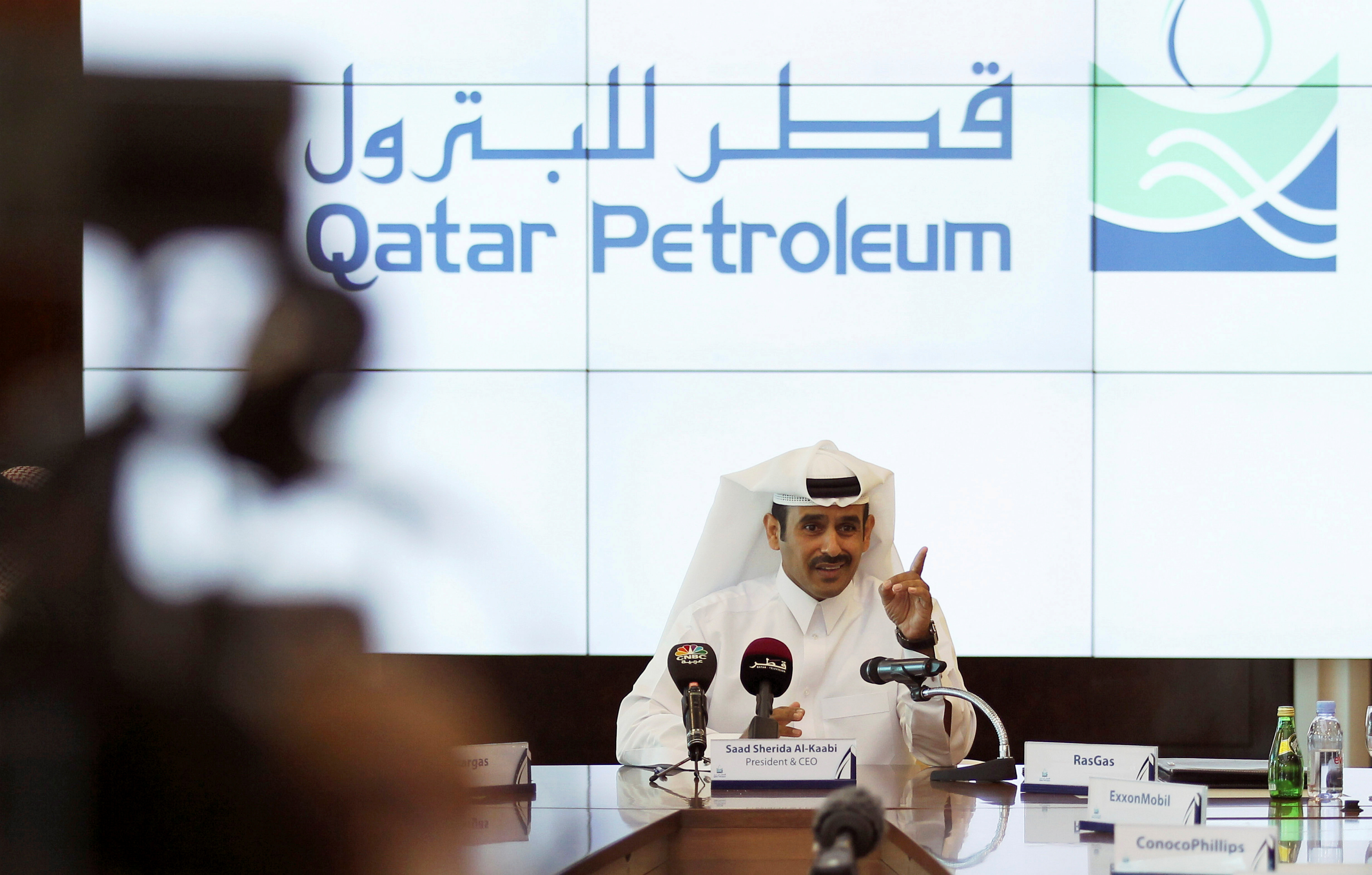 Saad al-Kaabi, chief executive of Qatar Petroleum, gestures during a news conference in Doha, Qatar, December 11, 2016. REUTERS/Naseem Zeitoon/File Photo