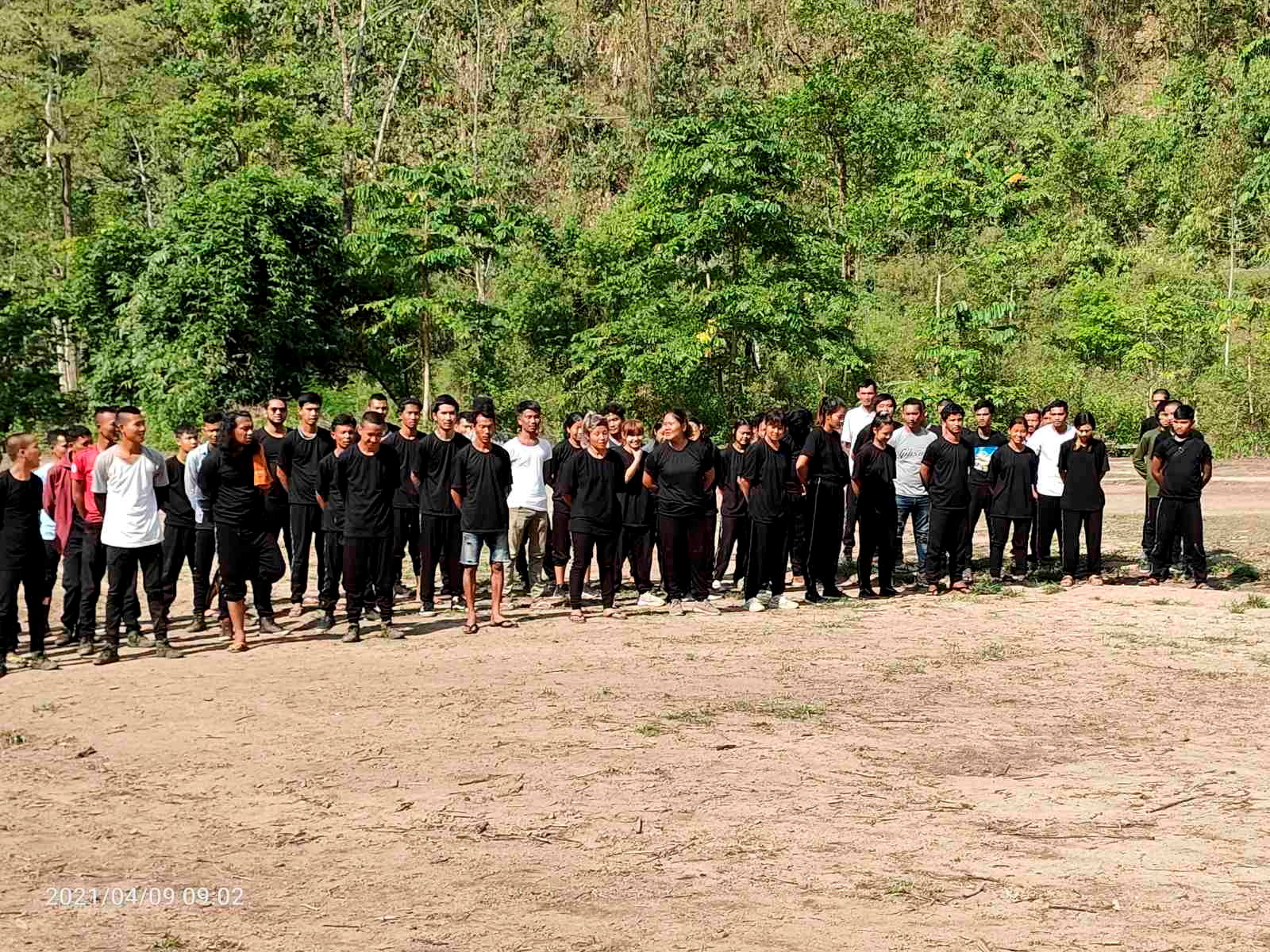 Protesters join militia members to attend a training led by Karen National Union (KNU), amid protests against the military coup, in Karen State, Myanmar April 9, 2021 in this picture obtained by Reuters on April 26, 2021. T