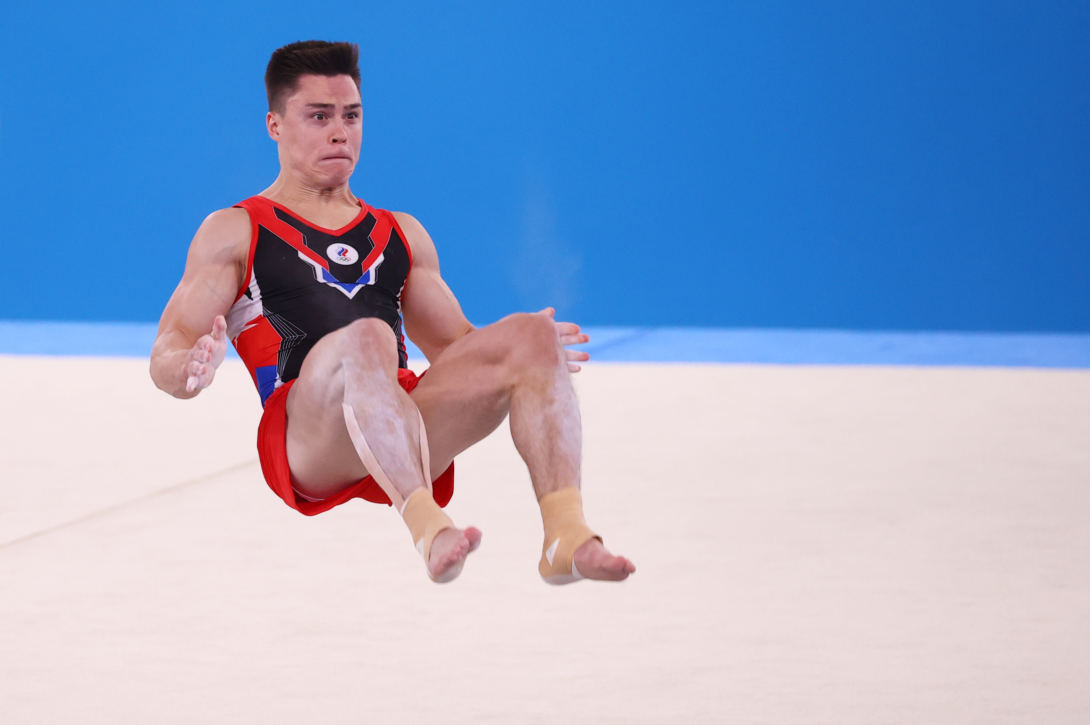 Tokyo 2020 Olympics - Gymnastics - Artistic - Men's Floor Exercise - Qualification - Ariake Gymnastics Centre, Tokyo, Japan - July 24, 2021. Nikita Nagornyy of the Russian Olympic Committee in action on the floor. REUTERS/Mike Blake