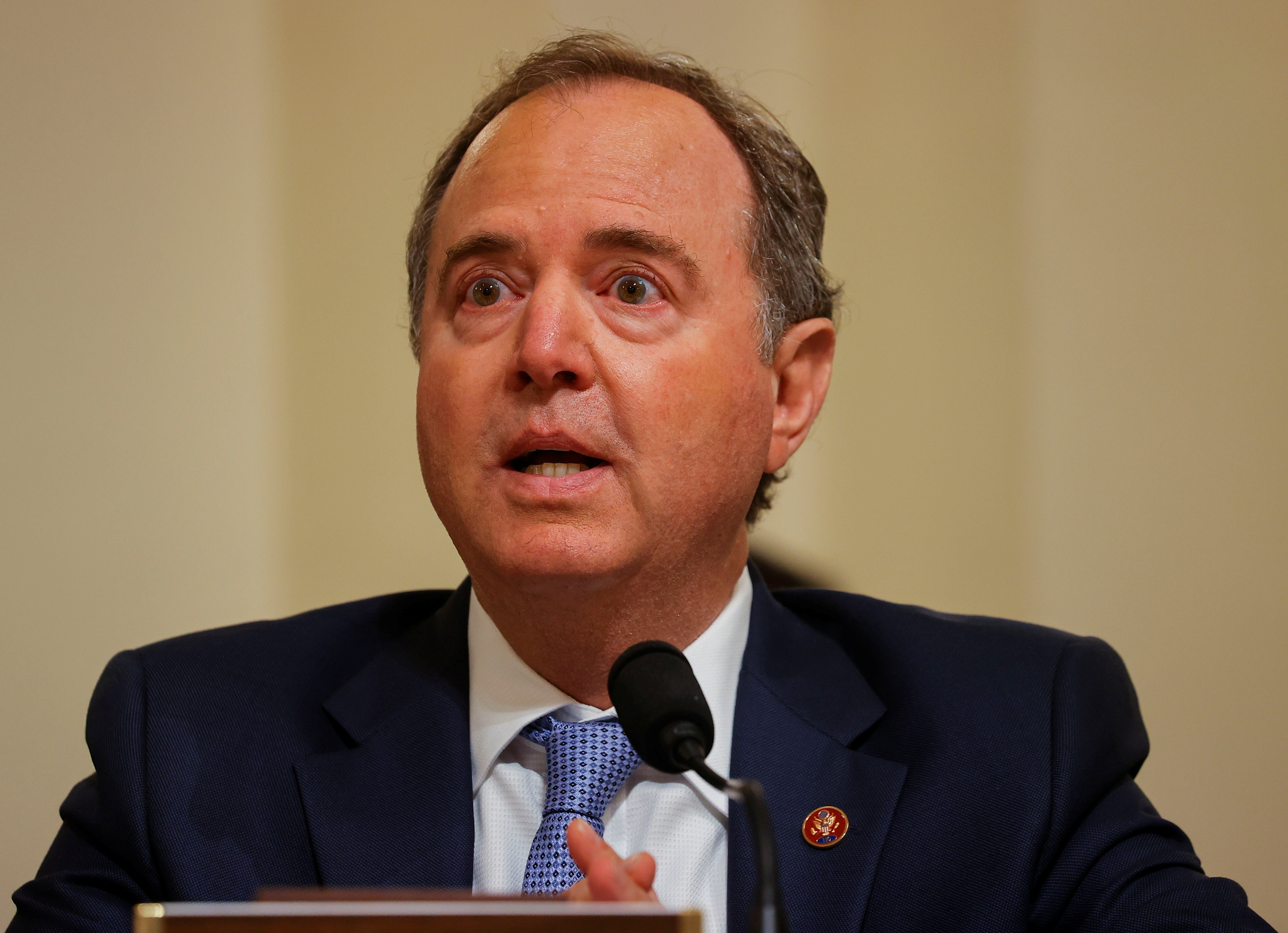 U.S. Representative Adam Schiff (D-CA) speaks during the opening hearing of the U.S. House (Select) Committee investigating the January 6 attack on the U.S. Capitol, on Capitol Hill in Washington, U.S., July 27, 2021. REUTERS/Jim Bourg/Pool