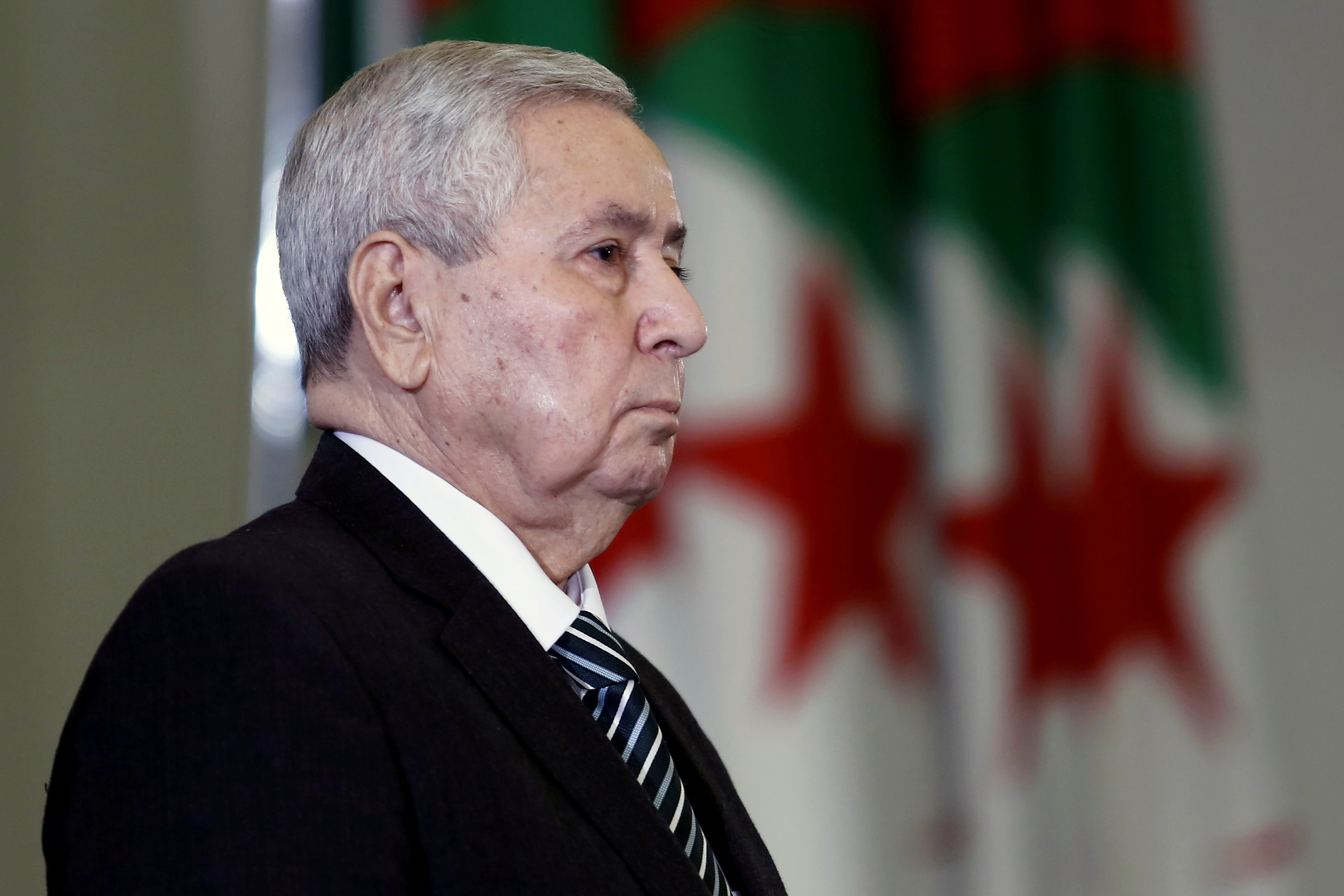 Algerian upper house chairman Abdelkader Bensalah is pictured after being appointed as interim president by Algeria's parliament, following the resignation of Abdelaziz Bouteflika in Algiers, Algeria April 9, 2019. REUTERS/Ramzi Boudina/File Photo