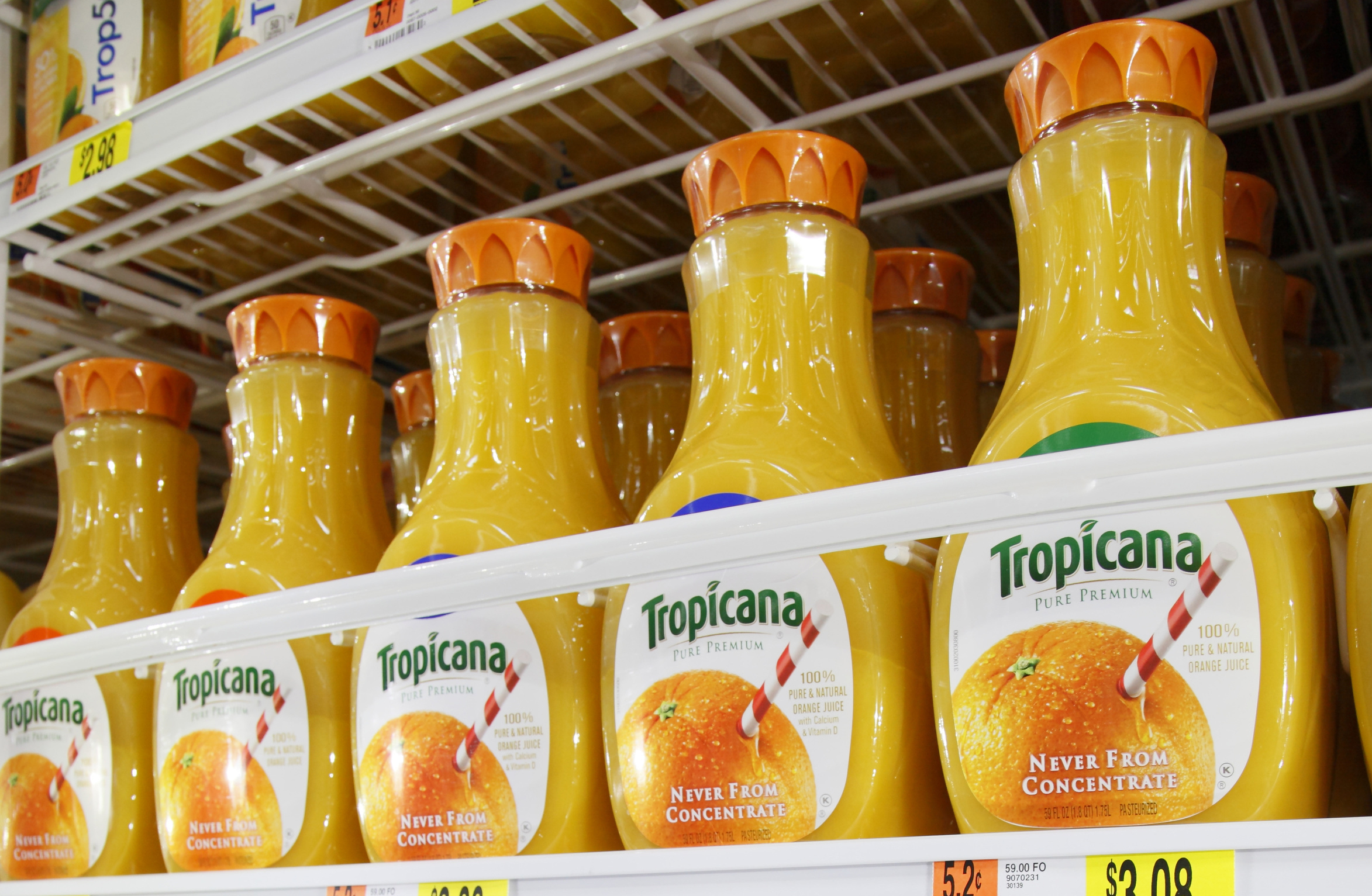 Pepsico's Tropicana juice is seen on display at a new Wal-Mart store in Chicago, in a January 24, 2012 file photo.